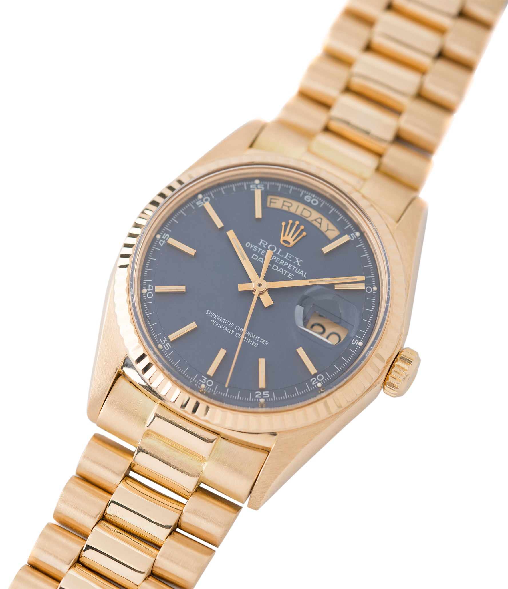 Rolex Day-Date 1803 Oyster Perpetual Cal. 1556 blue dial gold watch for sale online at A Collected Man London UK specialist of rare watches