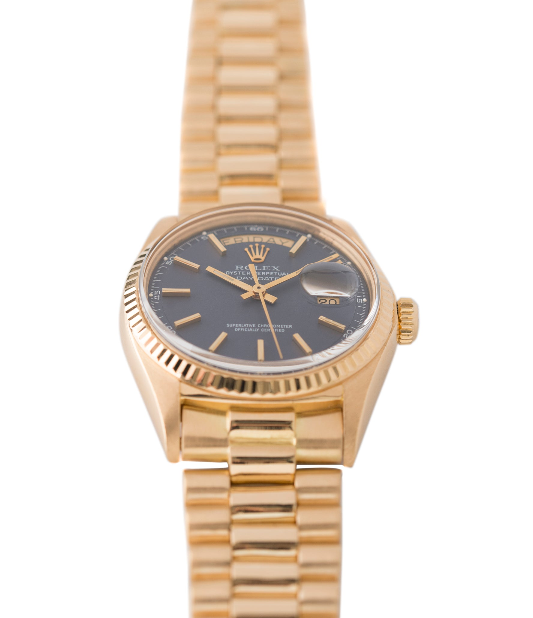 selling blue dial Day-Date vintage Rolex 1803 Oyster Perpetual Cal. 1556 gold watch for sale online at A Collected Man London UK specialist of rare watches