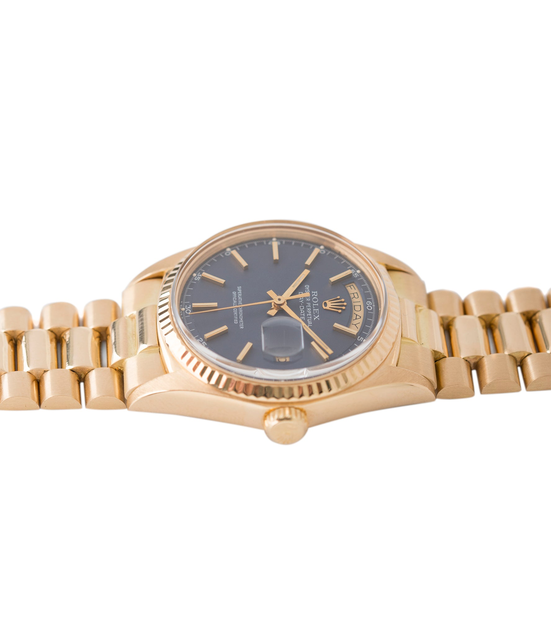for sale blue dial Day-Date vintage Rolex 1803 Oyster Perpetual Cal. 1556 gold watch for sale online at A Collected Man London UK specialist of rare watches