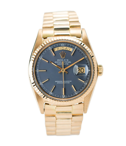 buy vintage Rolex Day-Date 1803 Oyster Perpetual Cal. 1556 gold watch blue dial for sale online at A Collected Man London UK specialist of rare watches