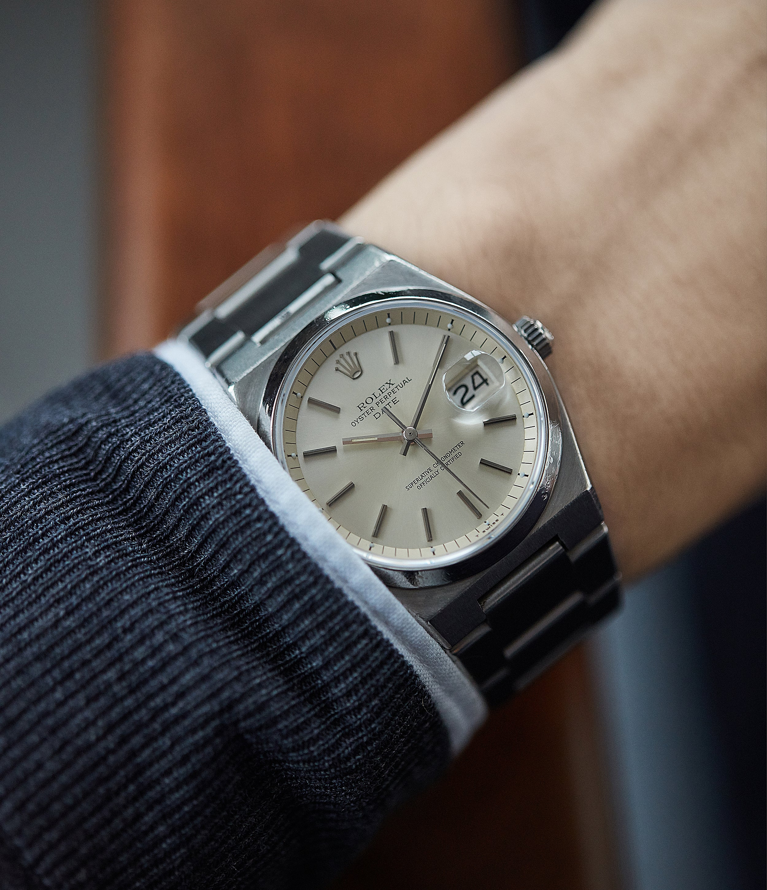 on the wrist Rolex Oyster Perpetual 1530 steel sport watch with papers for sale online at A Collected Man London UK specialist of rare watches