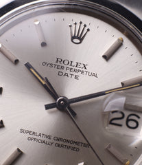 selling silver dial vintage Rolex 1500 Oyster Perpetual Date steel sport watch online for sale at A Collected Man London vintage watch specialist