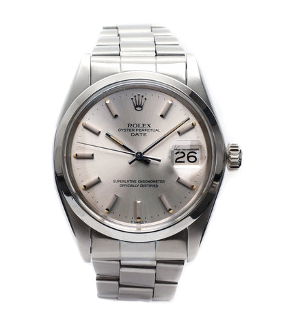 buy vintage Rolex 1500 Oyster Perpetual Date steel sport watch online for sale at A Collected Man London vintage watch specialist