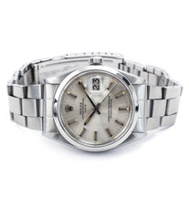 buy vintage Rolex 1500 Oyster Perpetual Date silver dial steel sport watch online for sale at A Collected Man London vintage watch specialist