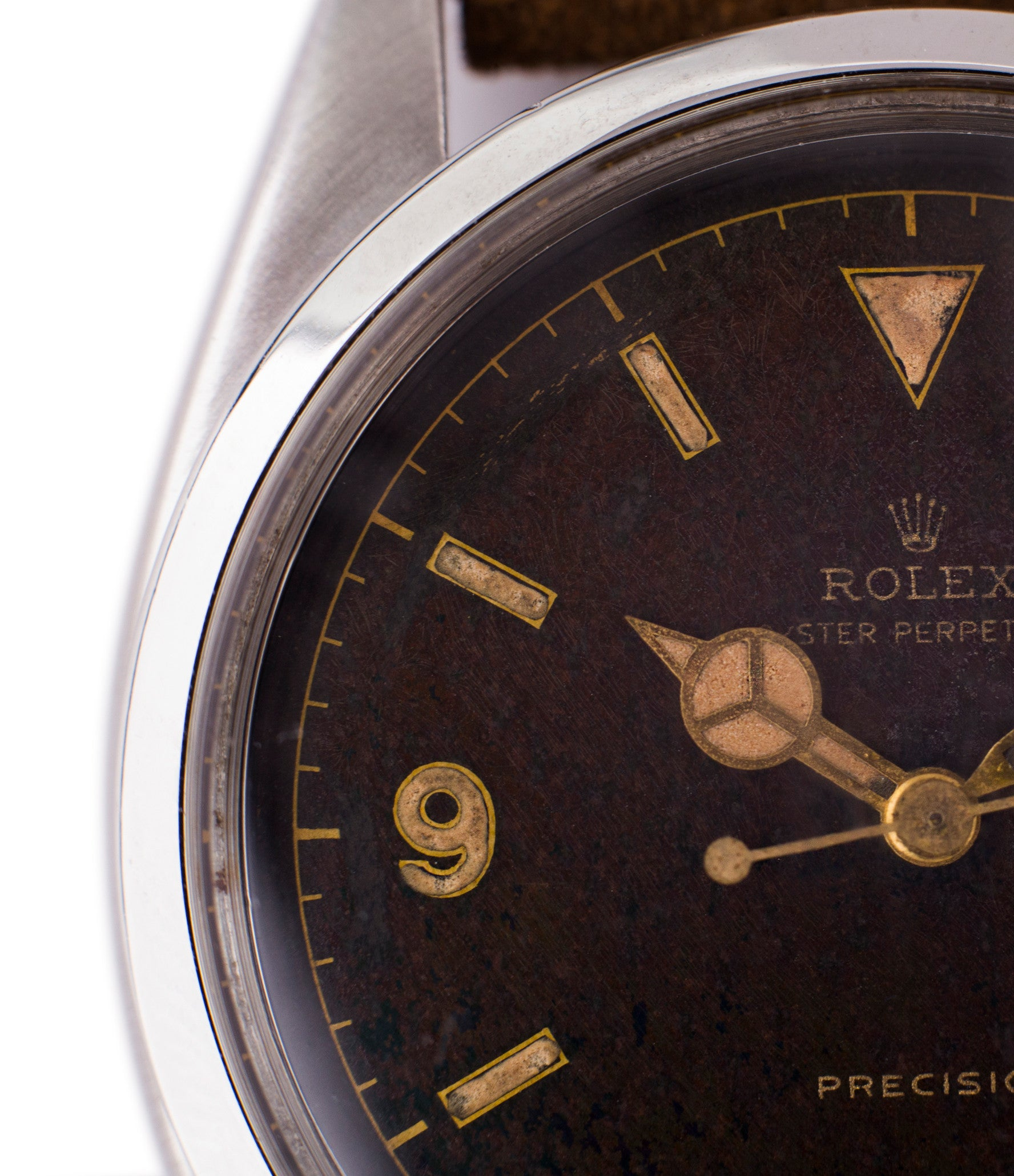 black dial steel Rolex 6150 Precision Pre-Explorer sport watch automatic A296 for sale online at A Collected Man vintage watch specialist