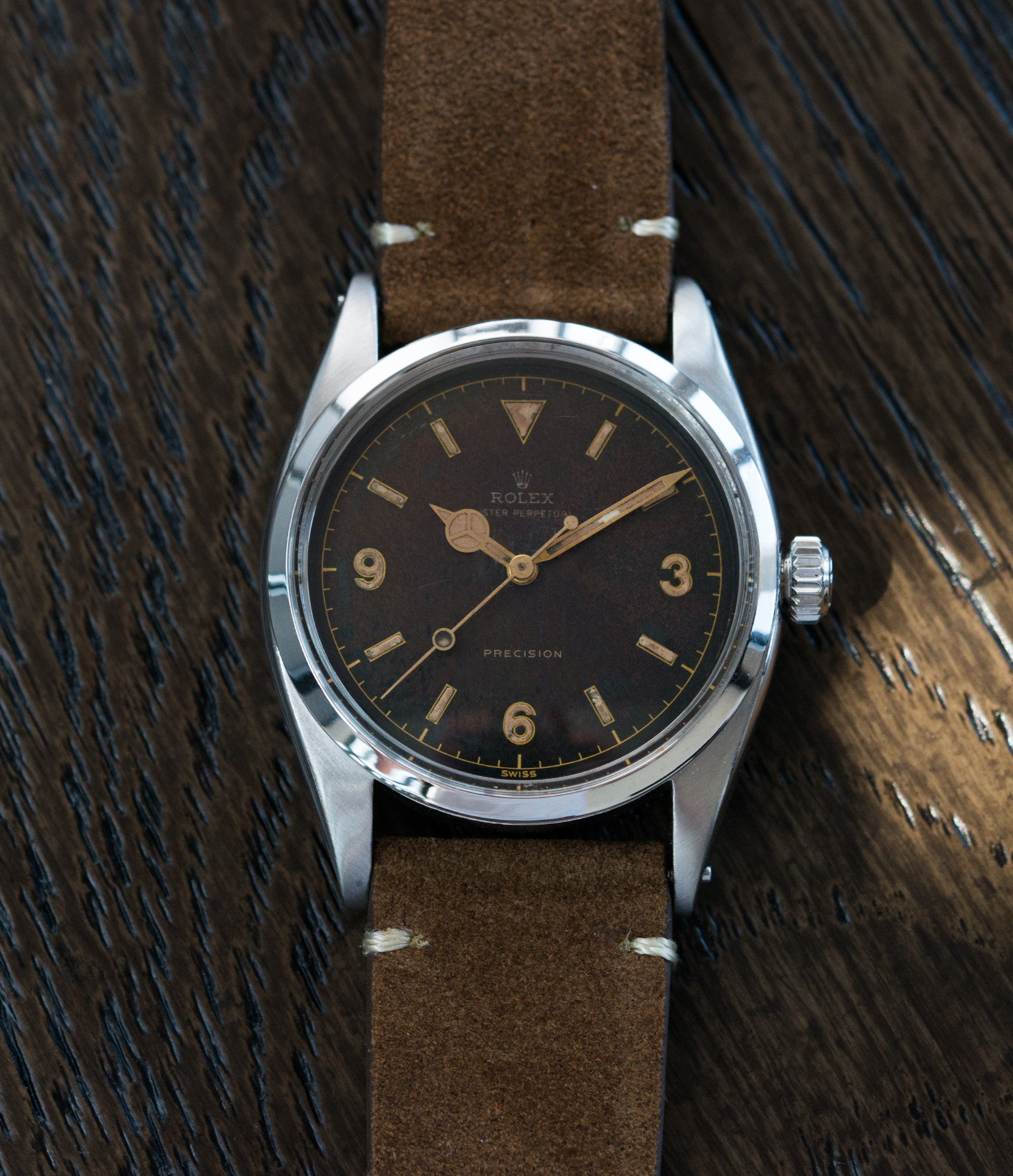 selling vintage Rolex 6150 Precision Pre-Explorer steel sport watch automatic A296 for sale online at A Collected Man vintage watch specialist