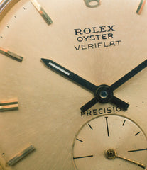 gold dial Rolex Veriflat 6512 yellow gold rare dress watch for sale online at A Collected Man London vintage watch specialist UK