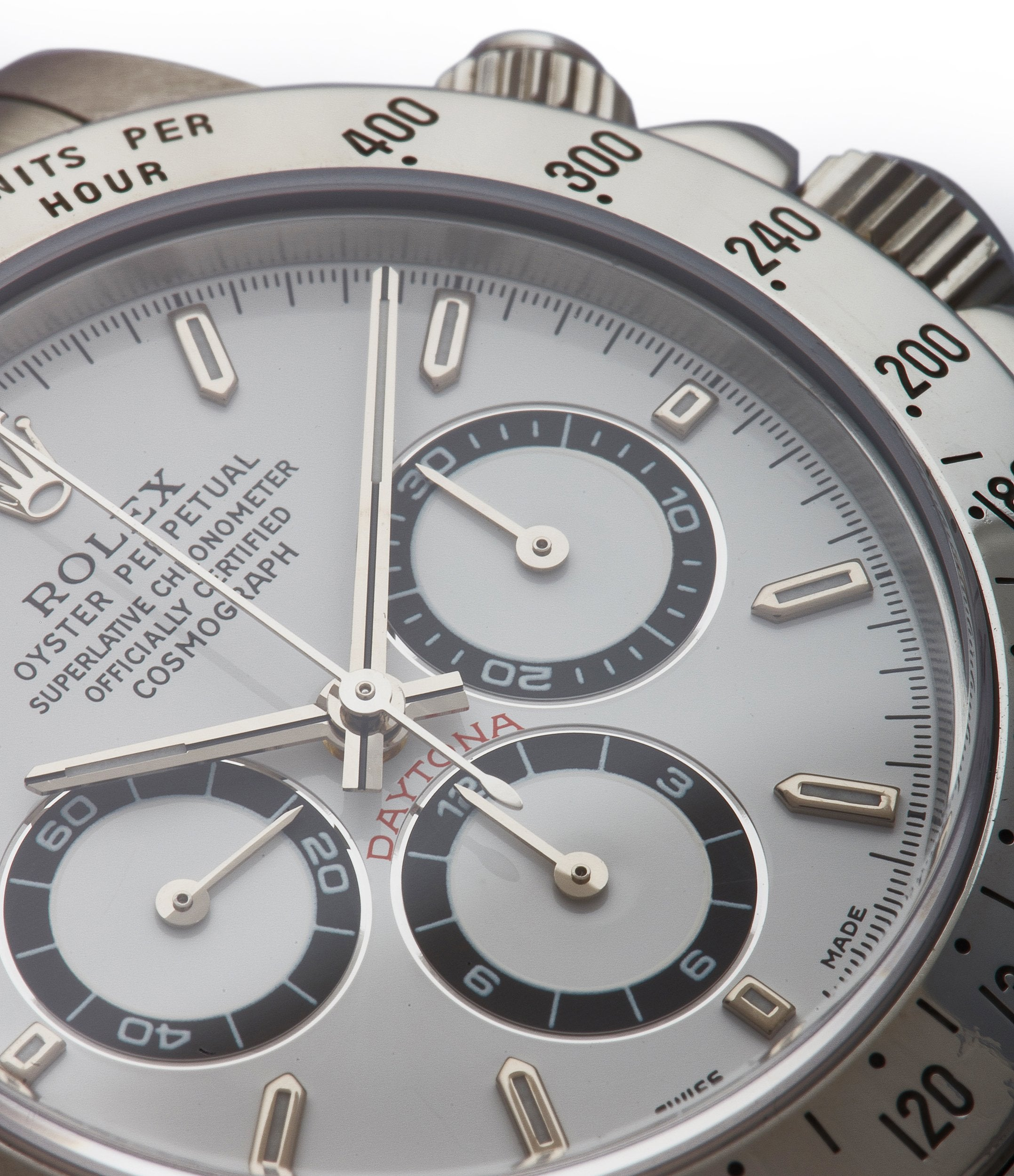 white dial Rolex Daytona 16520 Zenith steel vintage chronograph sports watch full set for sale online A Collected Man London specialist rare watches
