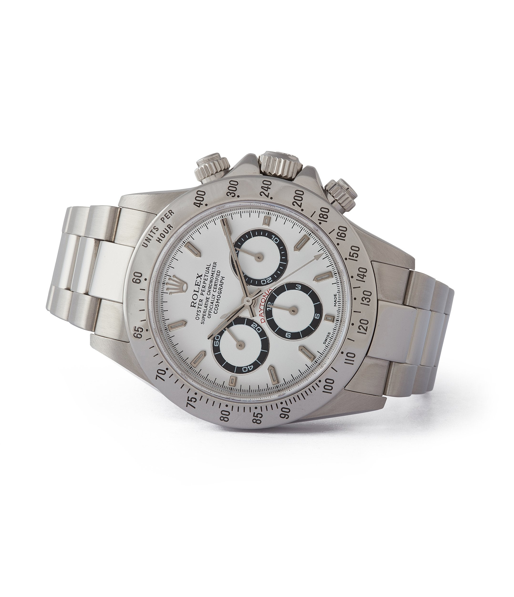 side-shot rare white dial Rolex Daytona 16520 Zenith steel vintage chronograph sports watch full set for sale online A Collected Man London specialist rare watches