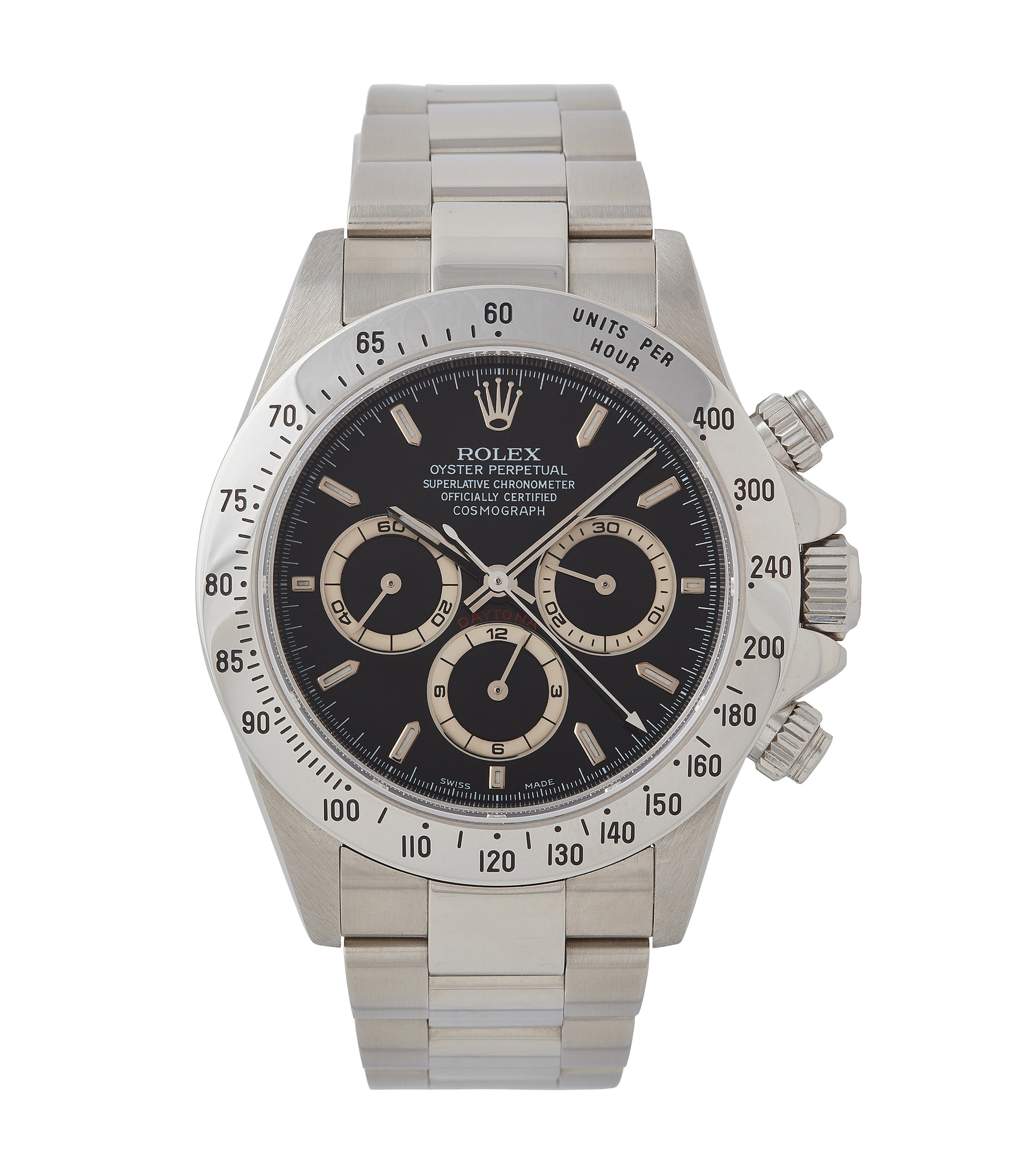 buy vintage Rolex Zenith Daytona 16520 P series steel chronograph watch black dial for sale online at A Collected Man London UK specialist of rare watches