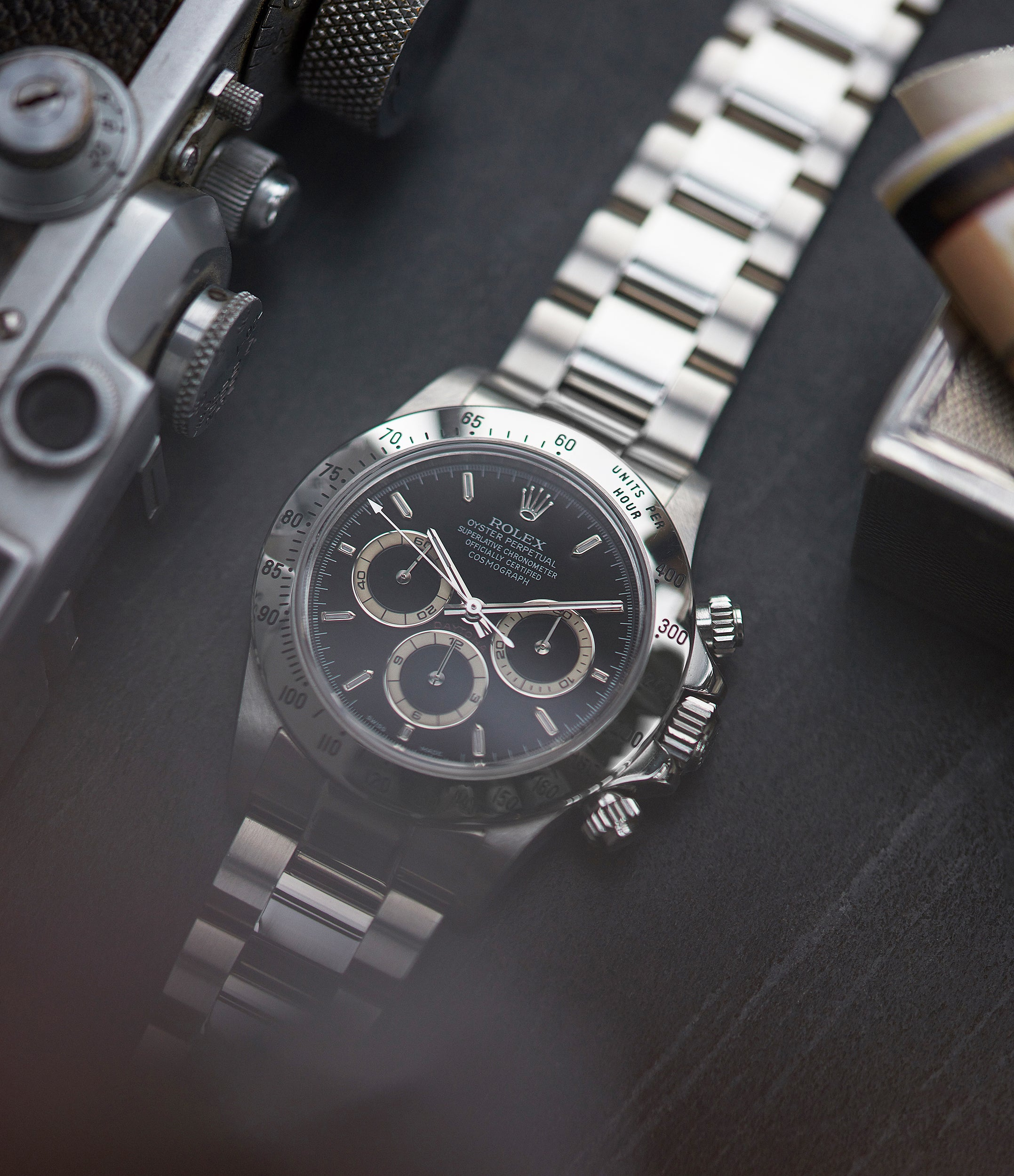 shop vintage Rolex Zenith Daytona 16520 P series steel chronograph watch black dial for sale online at A Collected Man London UK specialist of rare watches