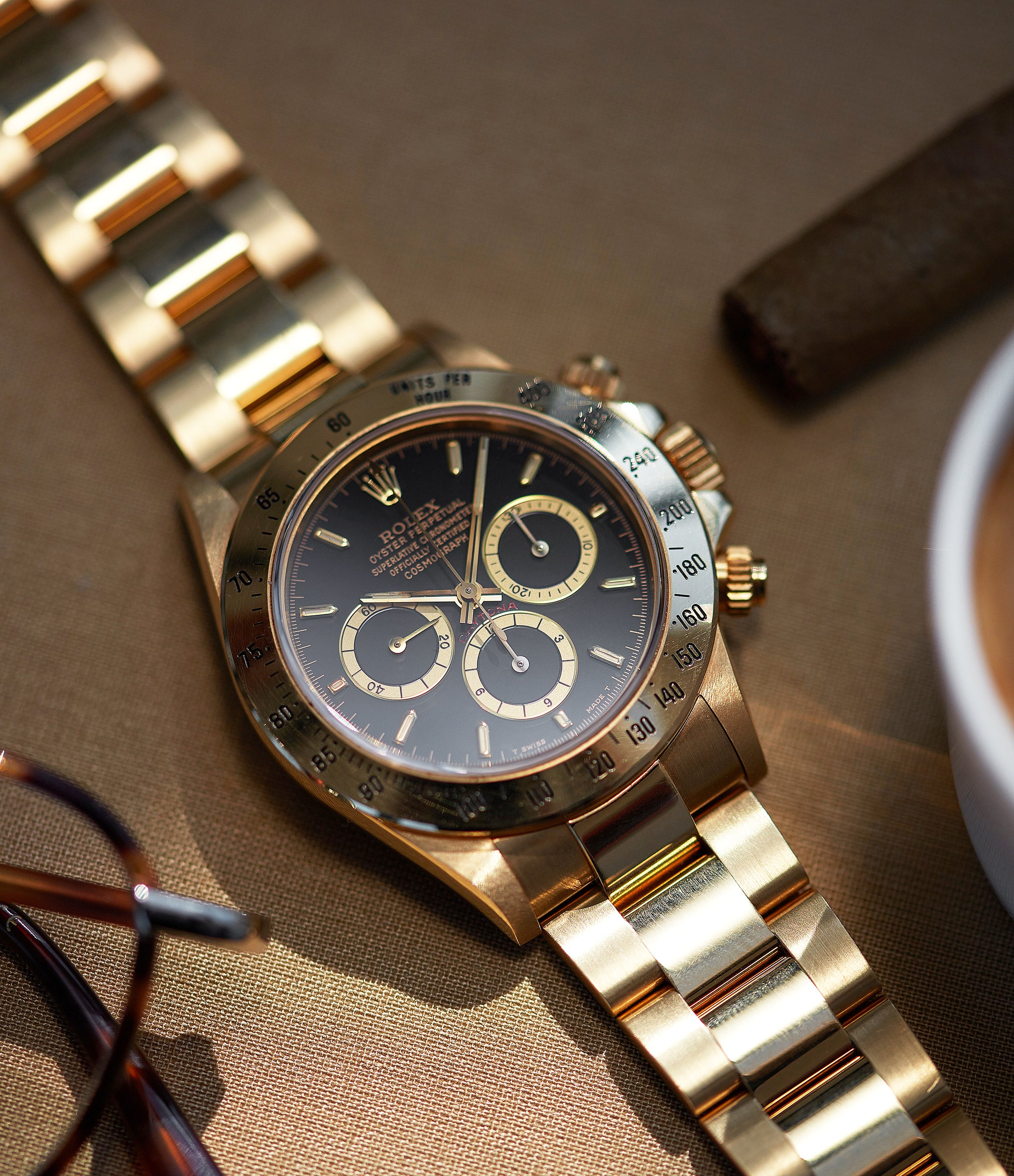 Rolex Automatique 16528 Daytona Zenith yellow gold black dial full set vintage watch for sale online at A Collected Man London UK specialist of rare watches