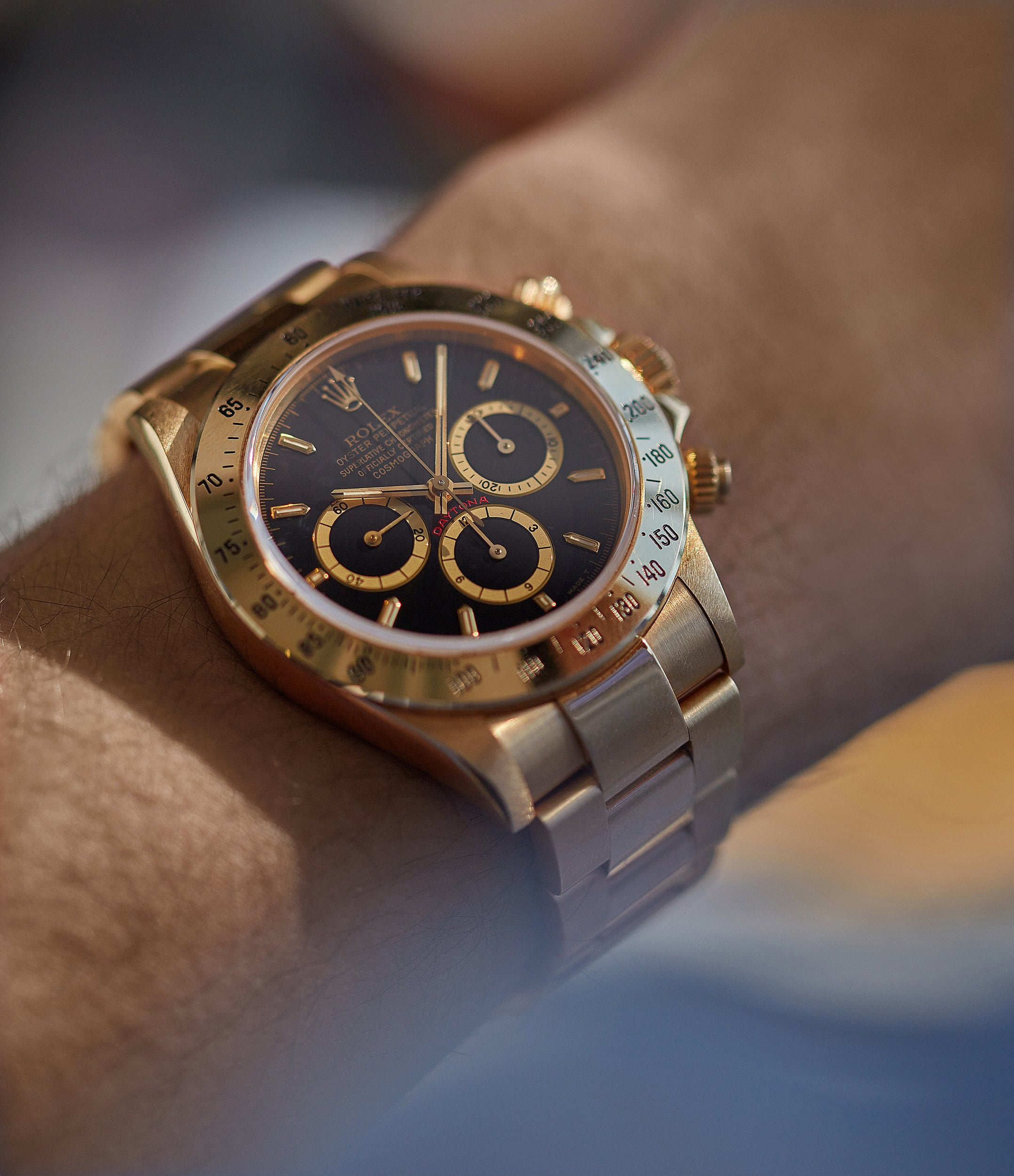 full set Rolex Daytona Automatique 16528 Zenith yellow gold black dial vintage watch for sale online at A Collected Man London UK specialist of rare watches