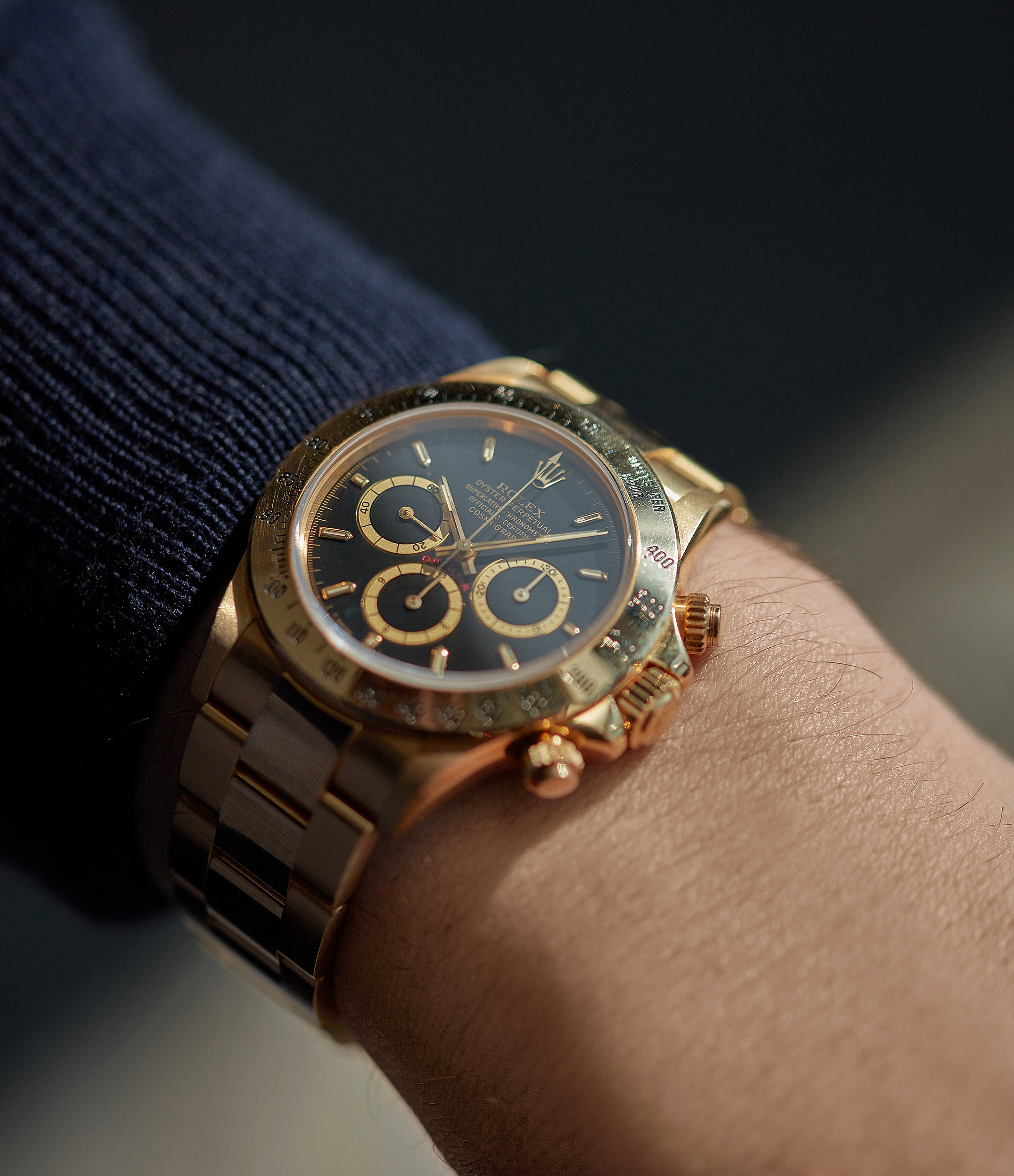 selling Rolex Daytona Zenith 16528 yellow gold black dial full set vintage watch for sale online at A Collected Man London UK specialist of rare watches
