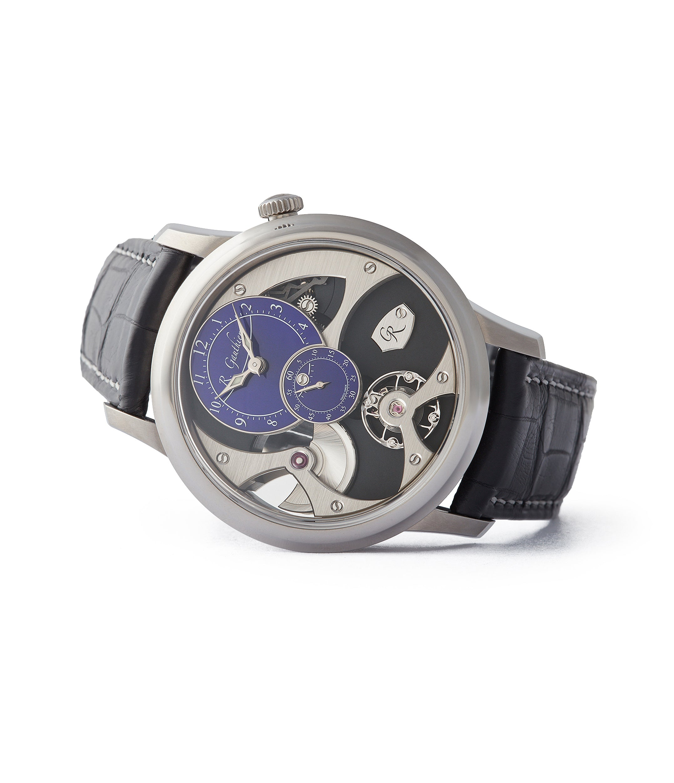 side-shot unique Romain Gauthier Insight Micro-rotor titanium blue enamel dial limited edition watch for sale online A Collected Man London