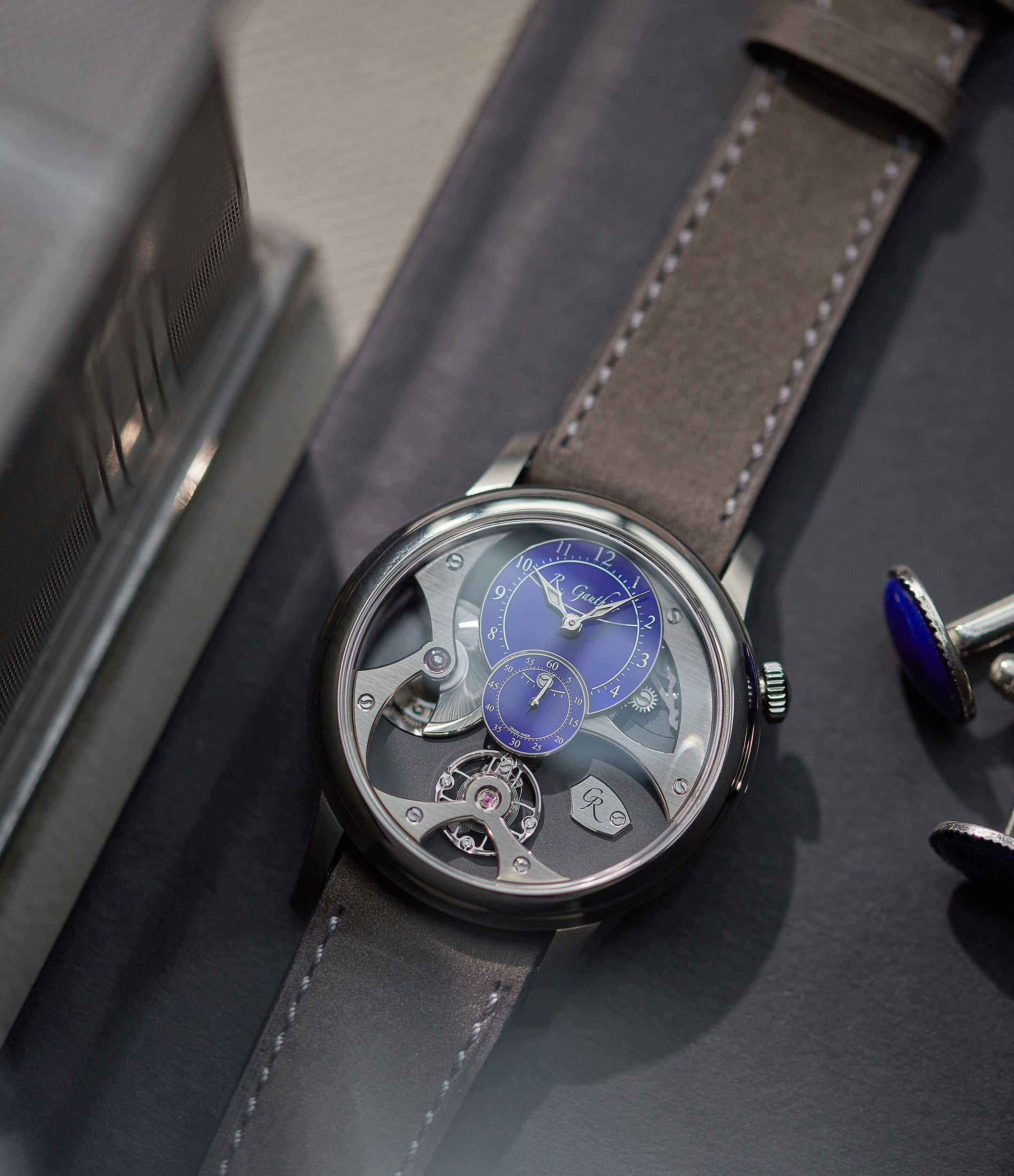 rare Romain Gauthier Insight Micro-rotor titanium blue enamel dial limited edition watch for sale online A Collected Man London