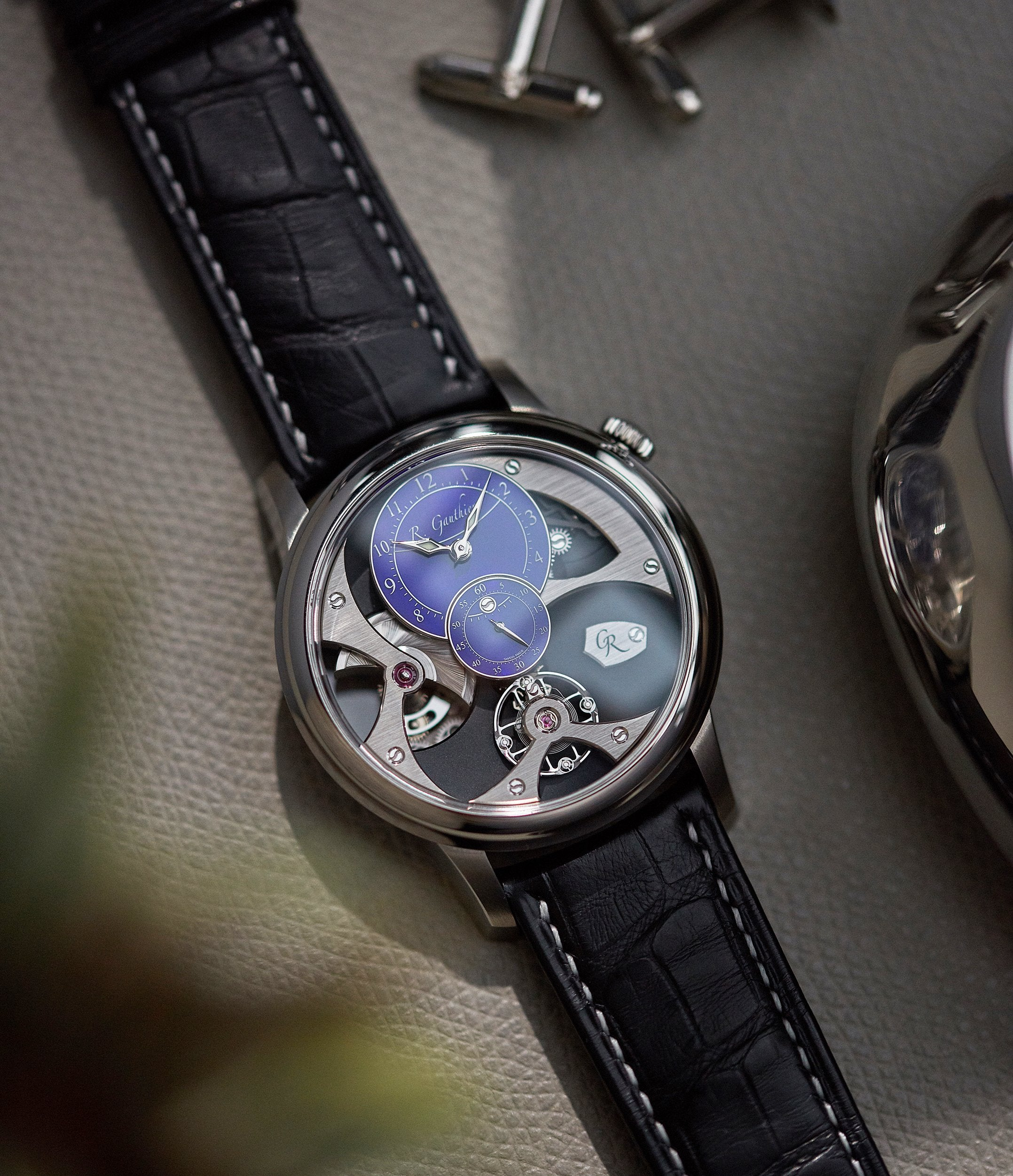 limited edition Romain Gauthier Insight Micro-rotor titanium blue enamel dial watch for sale online A Collected Man London
