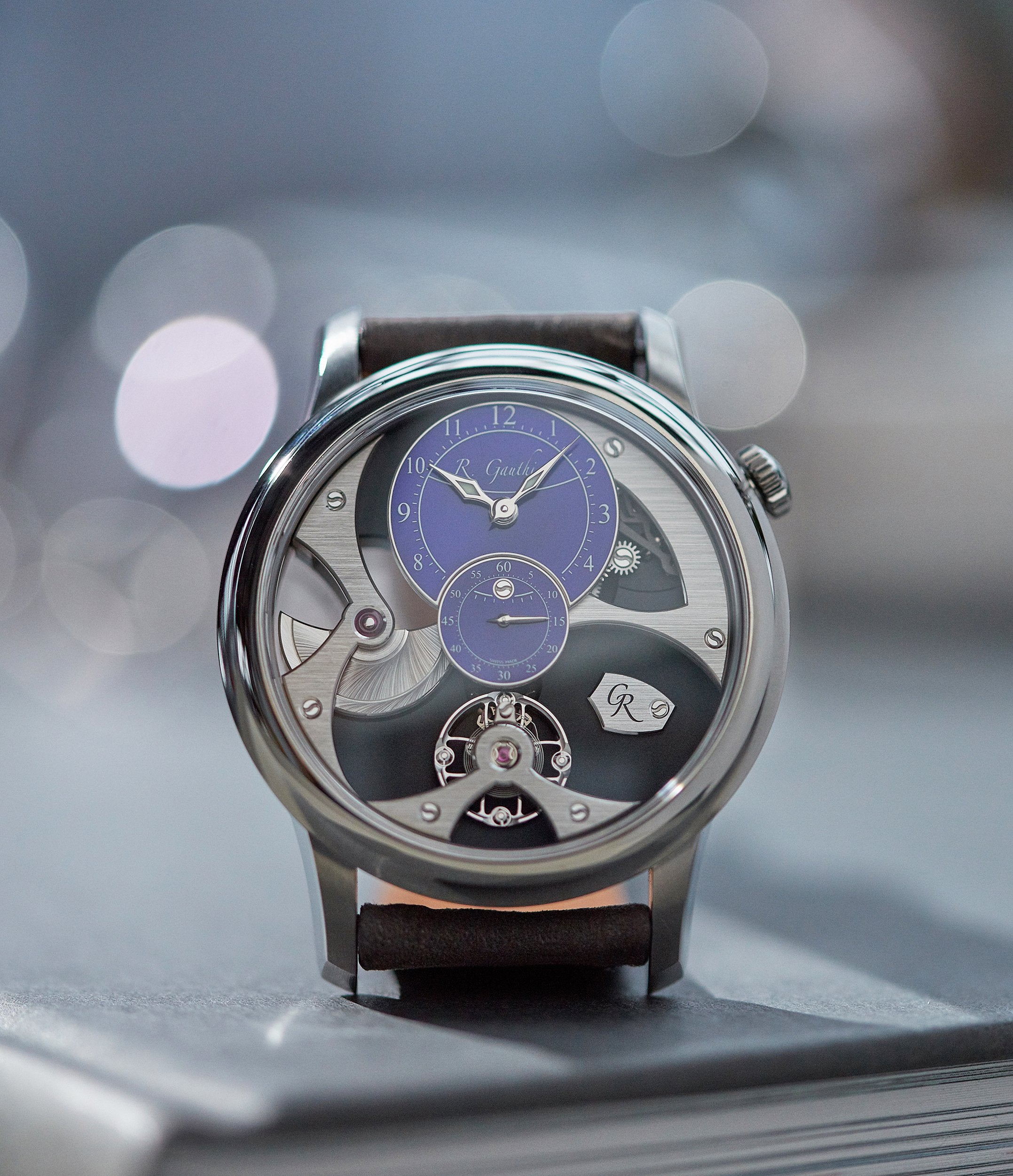 independent watchmaker Romain Gauthier Insight Micro-rotor titanium blue enamel dial limited edition watch for sale online A Collected Man London