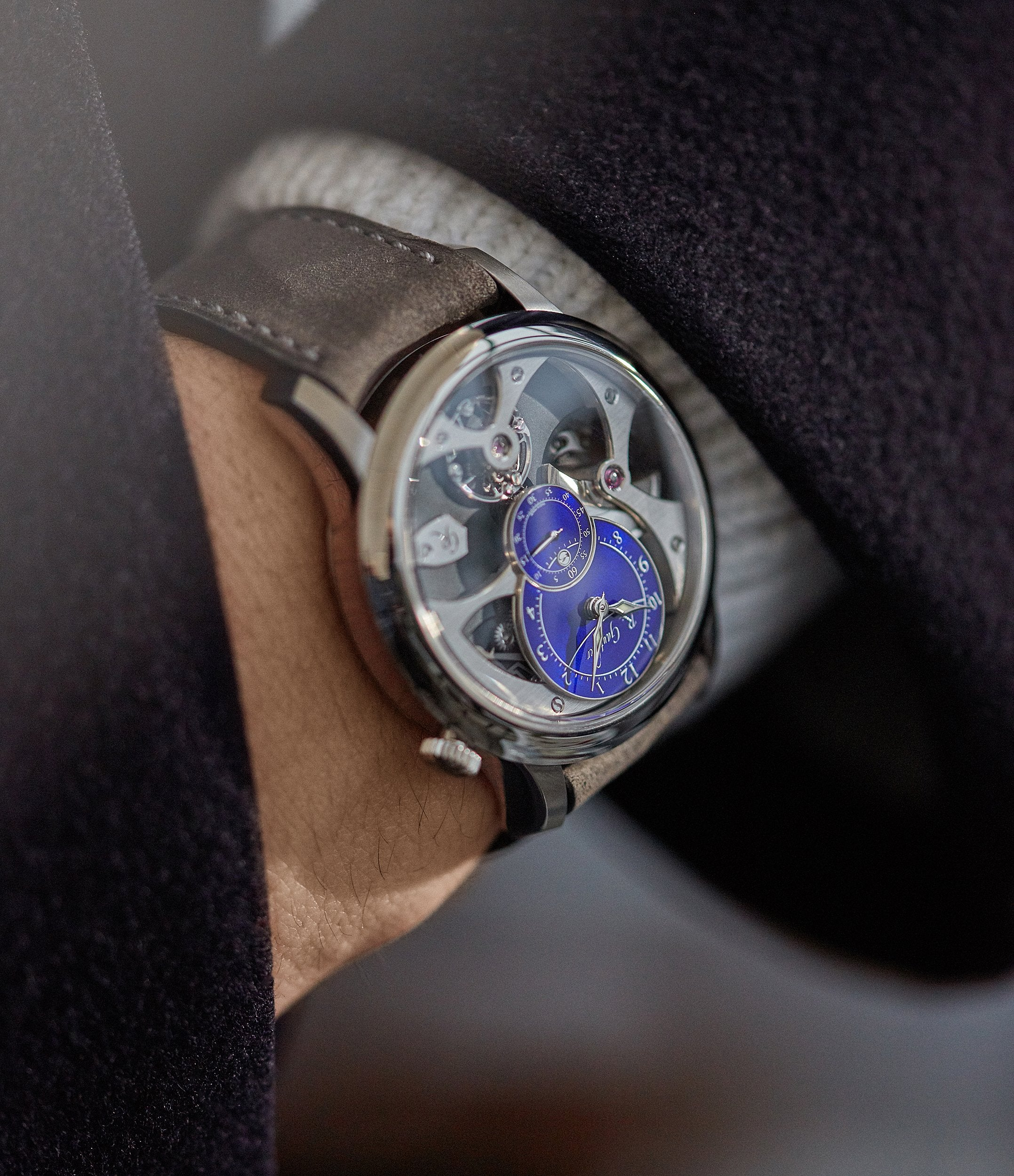 men's wristwatch Romain Gauthier Insight Micro-rotor titanium blue enamel dial limited edition watch for sale online A Collected Man London