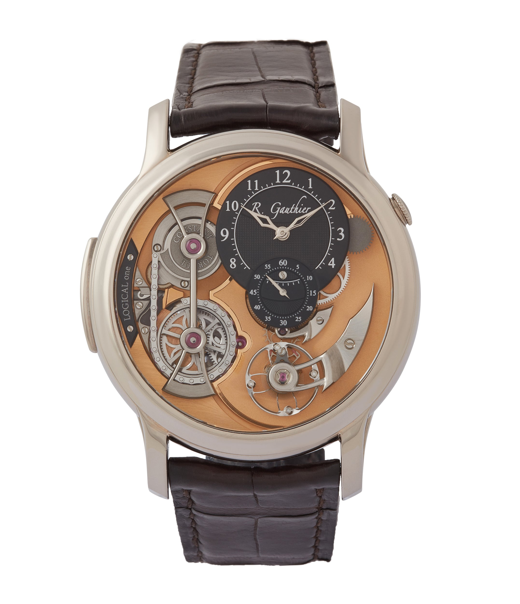 buy Romain Gauthier Heritage Collection award-winning Logical One white gold skeletonised watch for sale online at A Collected Man London UK specialist of independent watchmakers