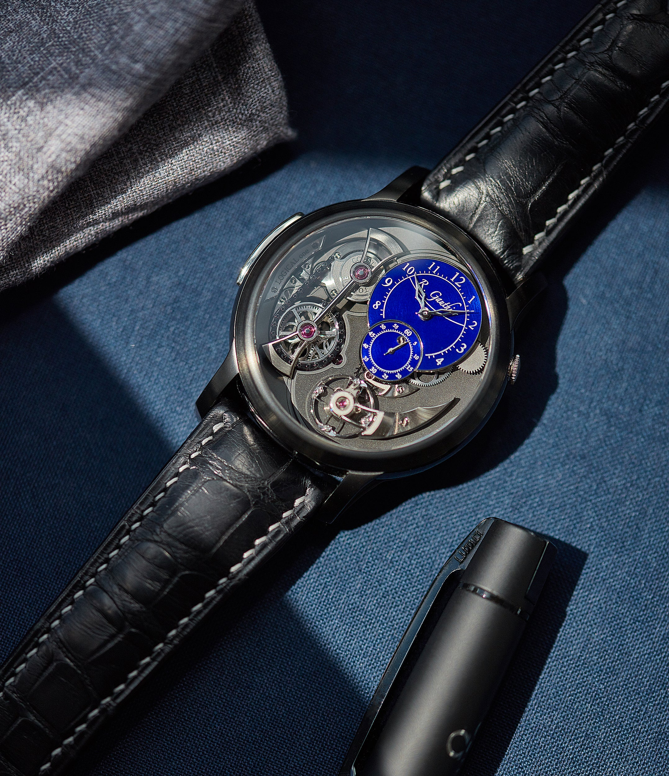 rare Romain Gauthier Limited Edition Logical One BTG titanium watch blue enamel dial for sale online at A Collected Man London UK specialist of independent watchmakers