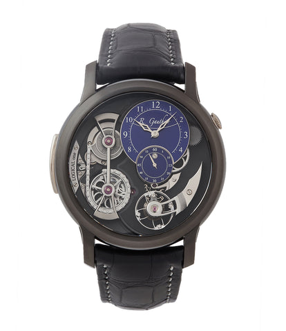 buy Romain Gauthier Limited Edition Logical One BTG titanium watch blue enamel dial for sale online at A Collected Man London UK specialist of independent watchmakers