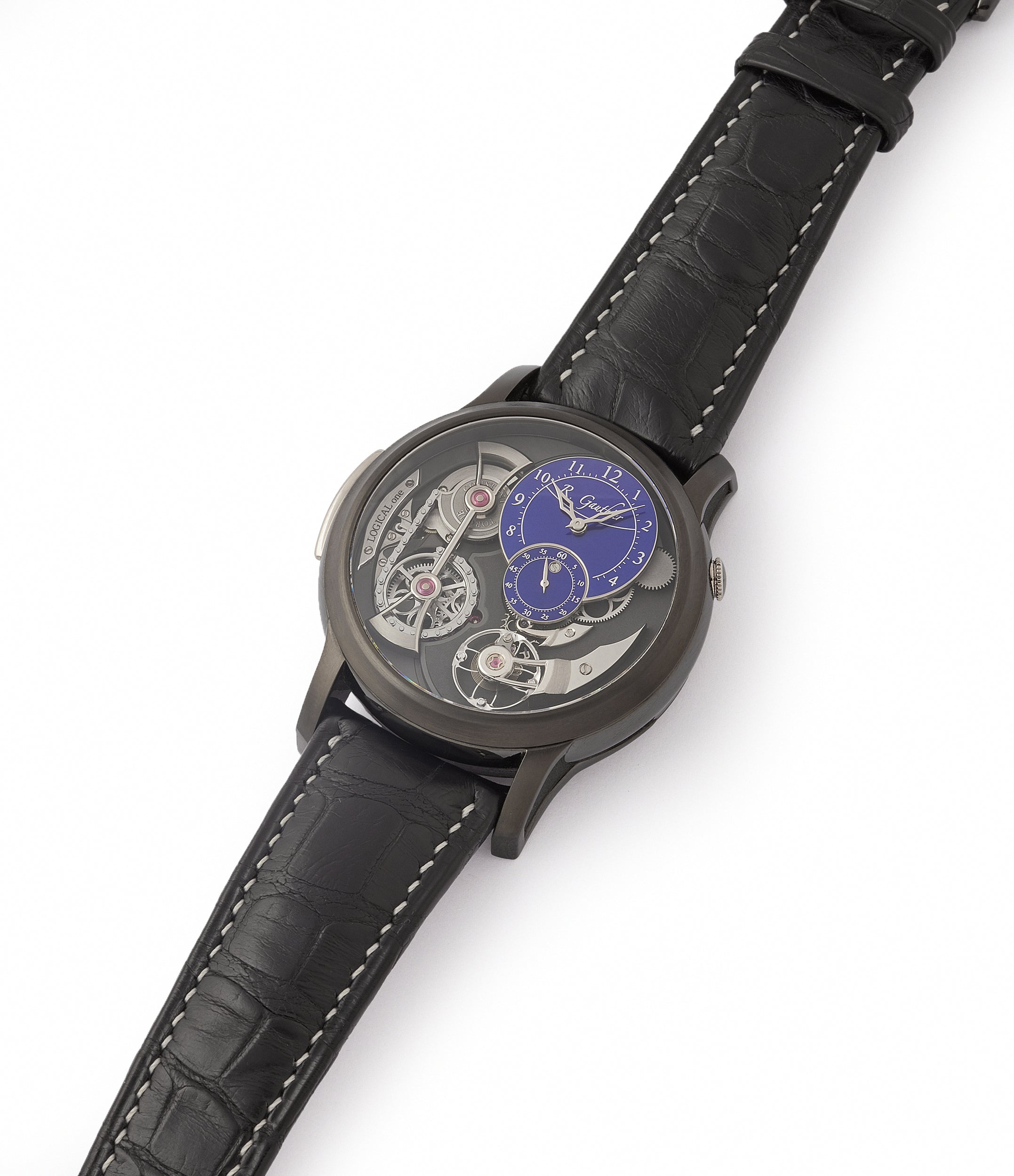 selling Romain Gauthier Limited Edition Logical One BTG titanium watch blue enamel dial for sale online at A Collected Man London UK specialist of independent watchmakers