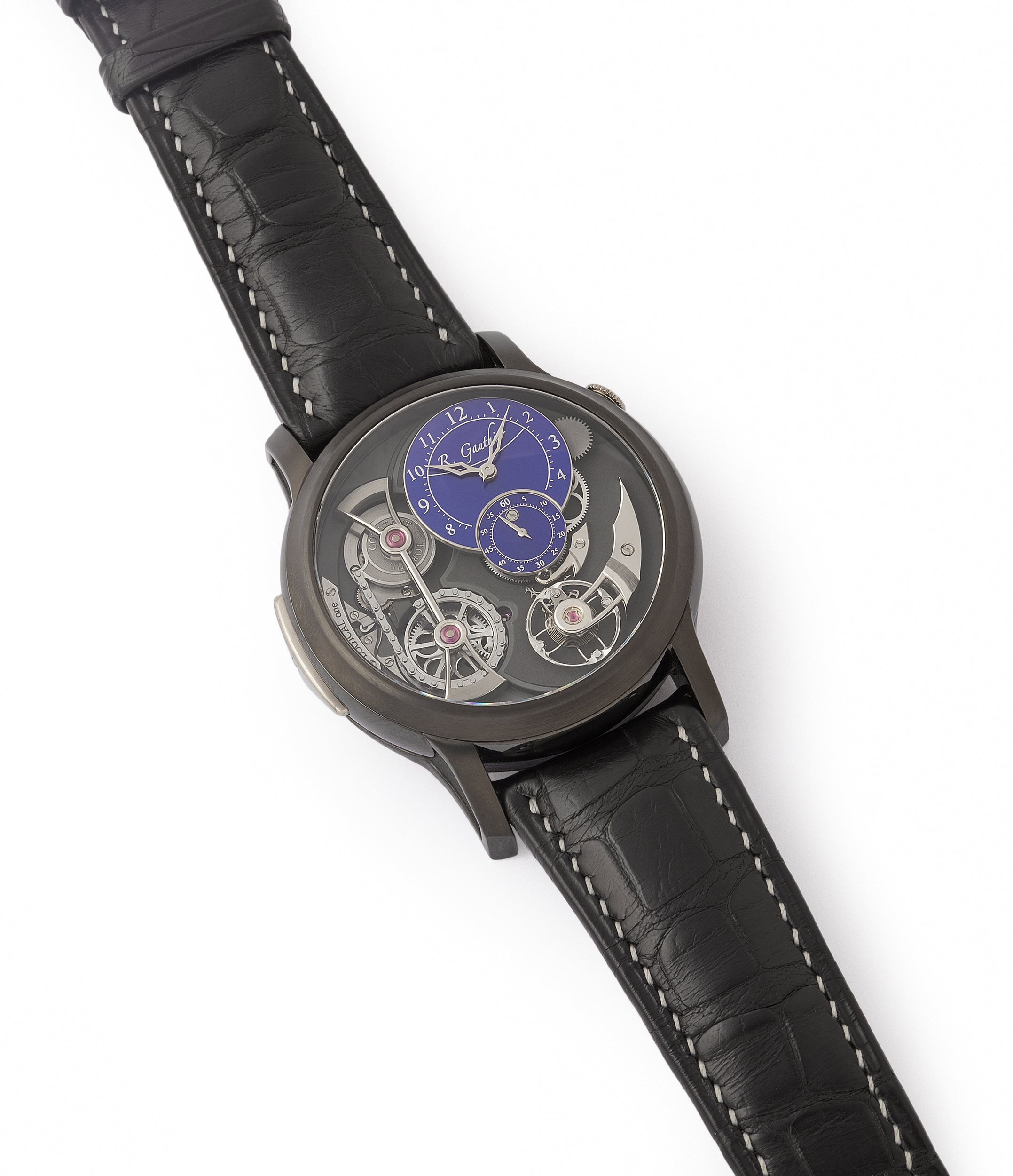 shop Romain Gauthier Limited Edition Logical One BTG titanium watch blue enamel dial for sale online at A Collected Man London UK specialist of independent watchmakers