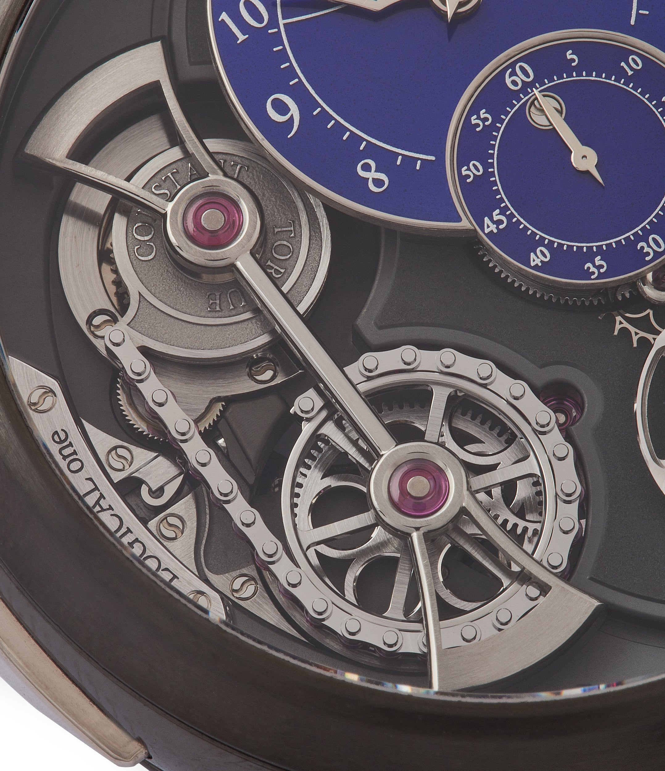 unique watch Romain Gauthier Limited Edition Logical One BTG titanium watch blue enamel dial for sale online at A Collected Man London UK specialist of independent watchmakers