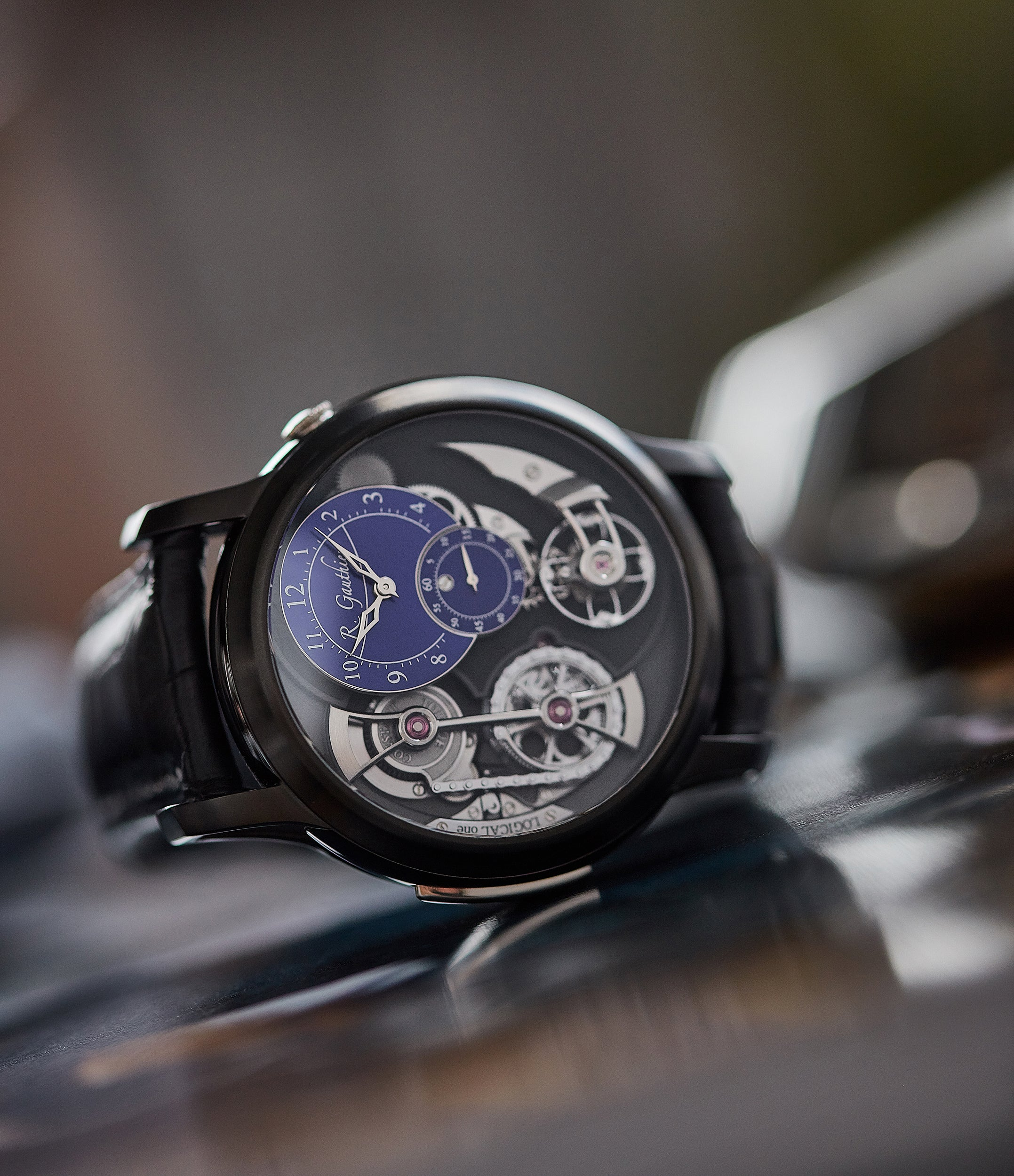 Limited Edition 1 of 5 Romain Gauthier Logical One BTG titanium watch blue enamel dial for sale online at A Collected Man London UK specialist of independent watchmakers