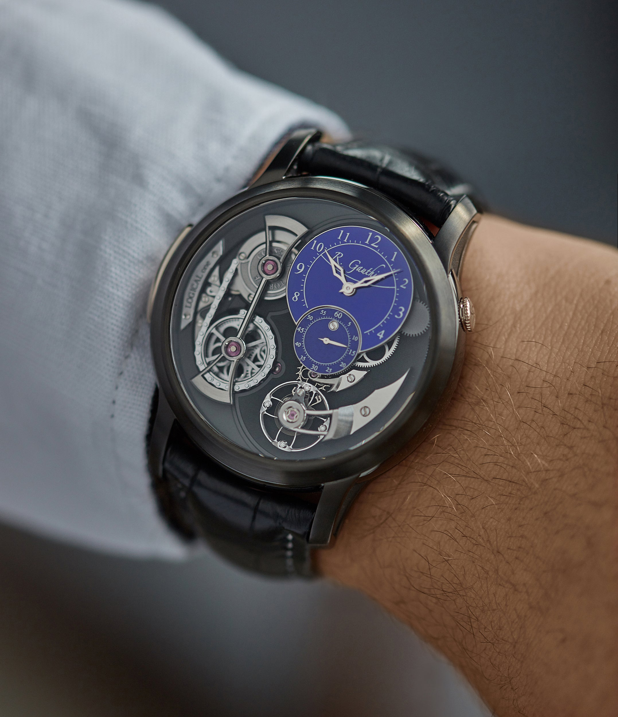 men's luxury wristwatch Romain Gauthier Limited Edition Logical One BTG titanium watch blue enamel dial for sale online at A Collected Man London UK specialist of independent watchmakers