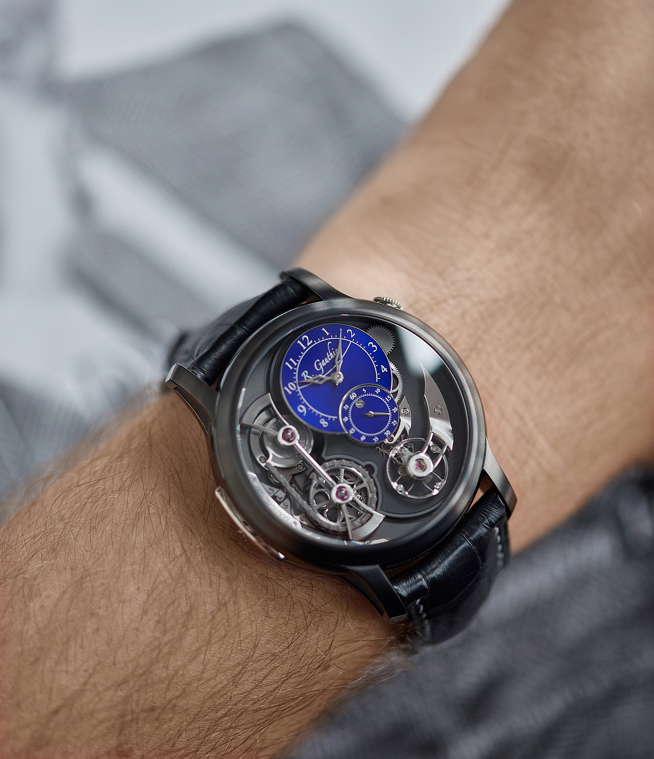 pre-owned Romain Gauthier Limited Edition Logical One BTG titanium watch blue enamel dial for sale online at A Collected Man London UK specialist of independent watchmakers