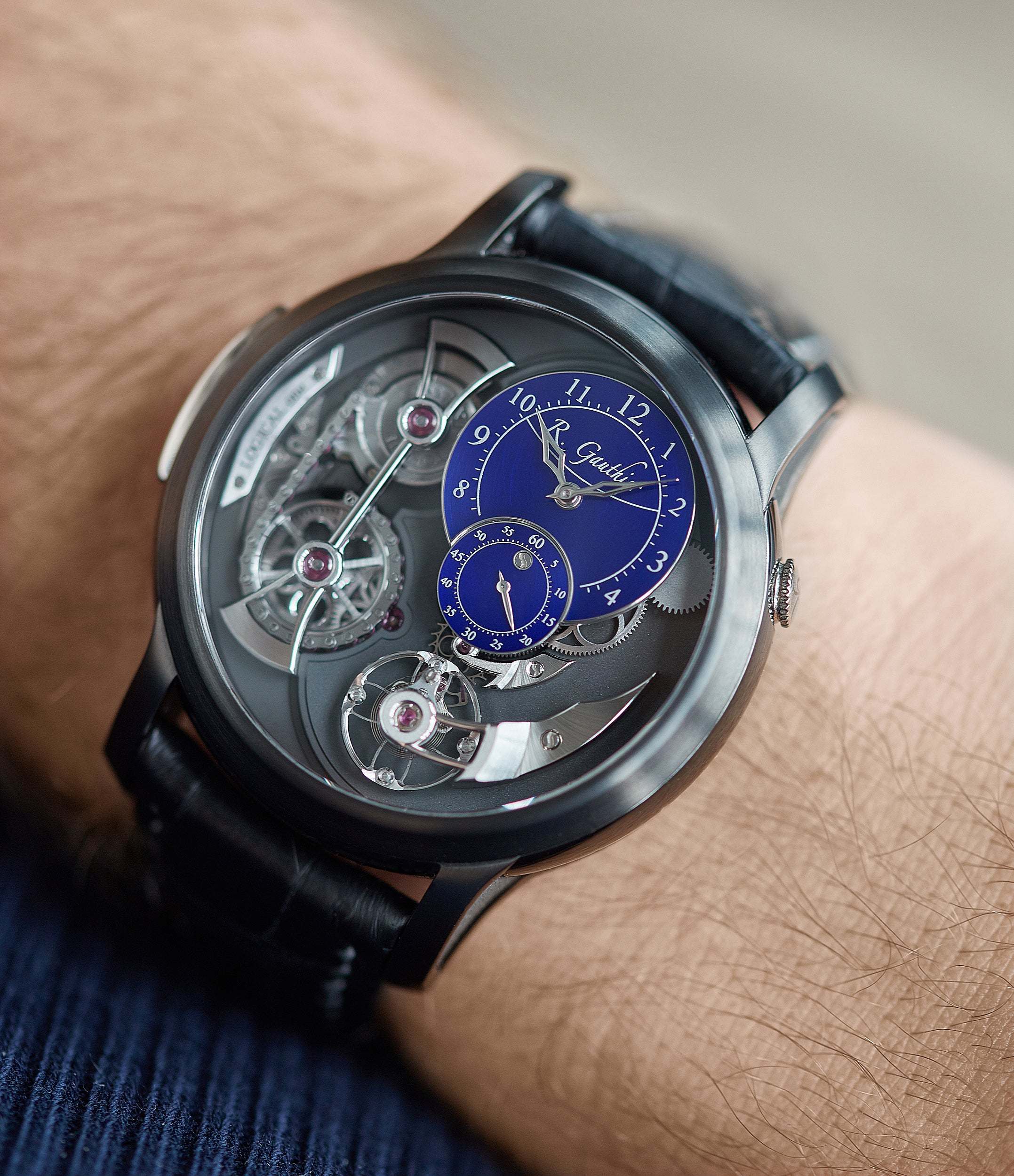 men's rare blue dial wristwatch Romain Gauthier Limited Edition Logical One BTG titanium watch blue enamel dial for sale online at A Collected Man London UK specialist of independent watchmakers