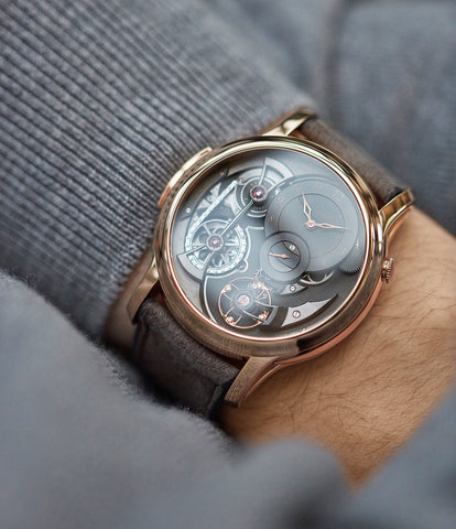 on the wrist Romain Gauthier Logical One red gold dress watch by independent watchmaker for sale online at A Collected Man London UK specialist of rare watches