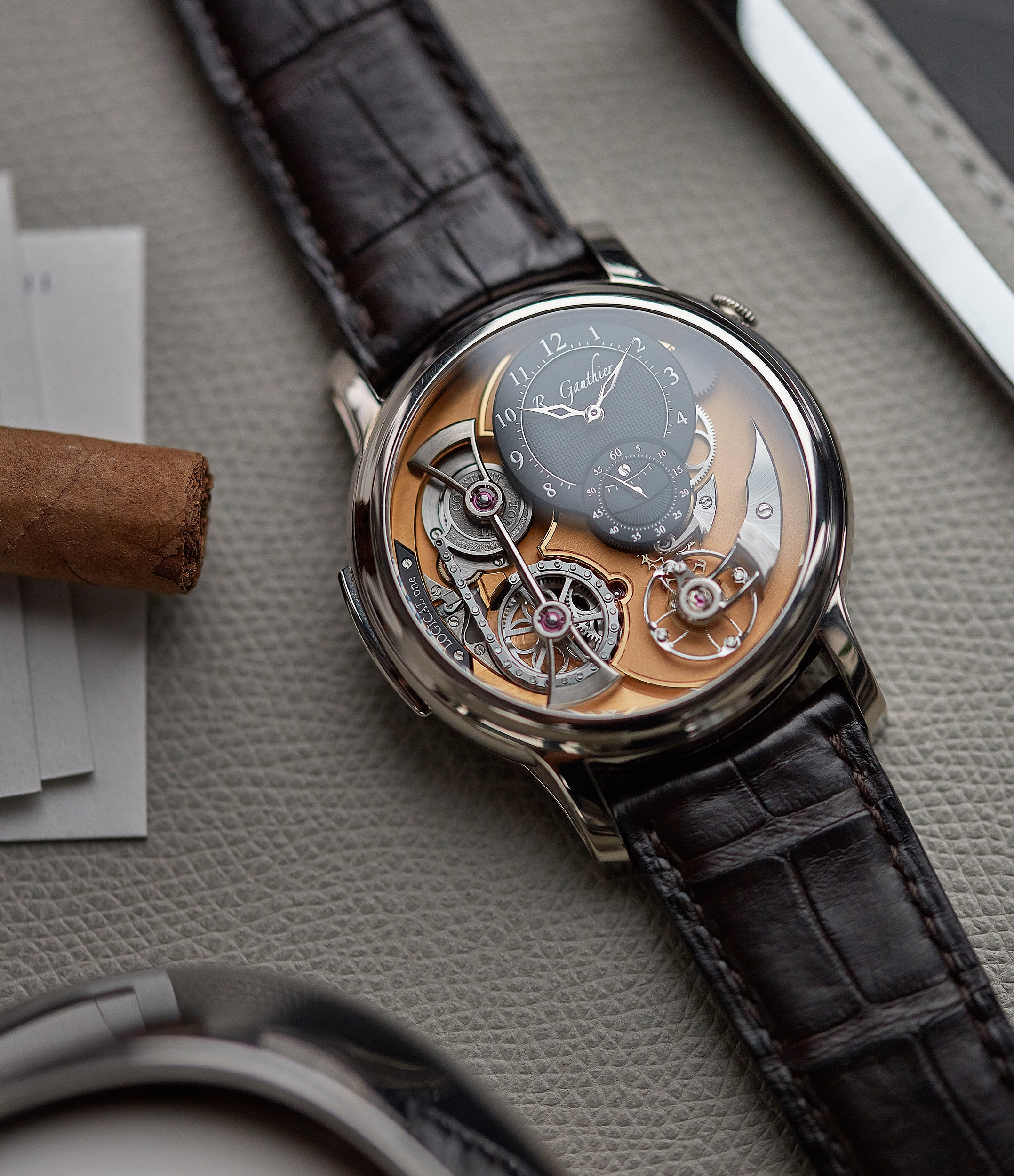 independent watchmaker Romain Gauthier Logical One white gold skeletonised watch for sale online at A Collected Man London UK specialist of rare watches