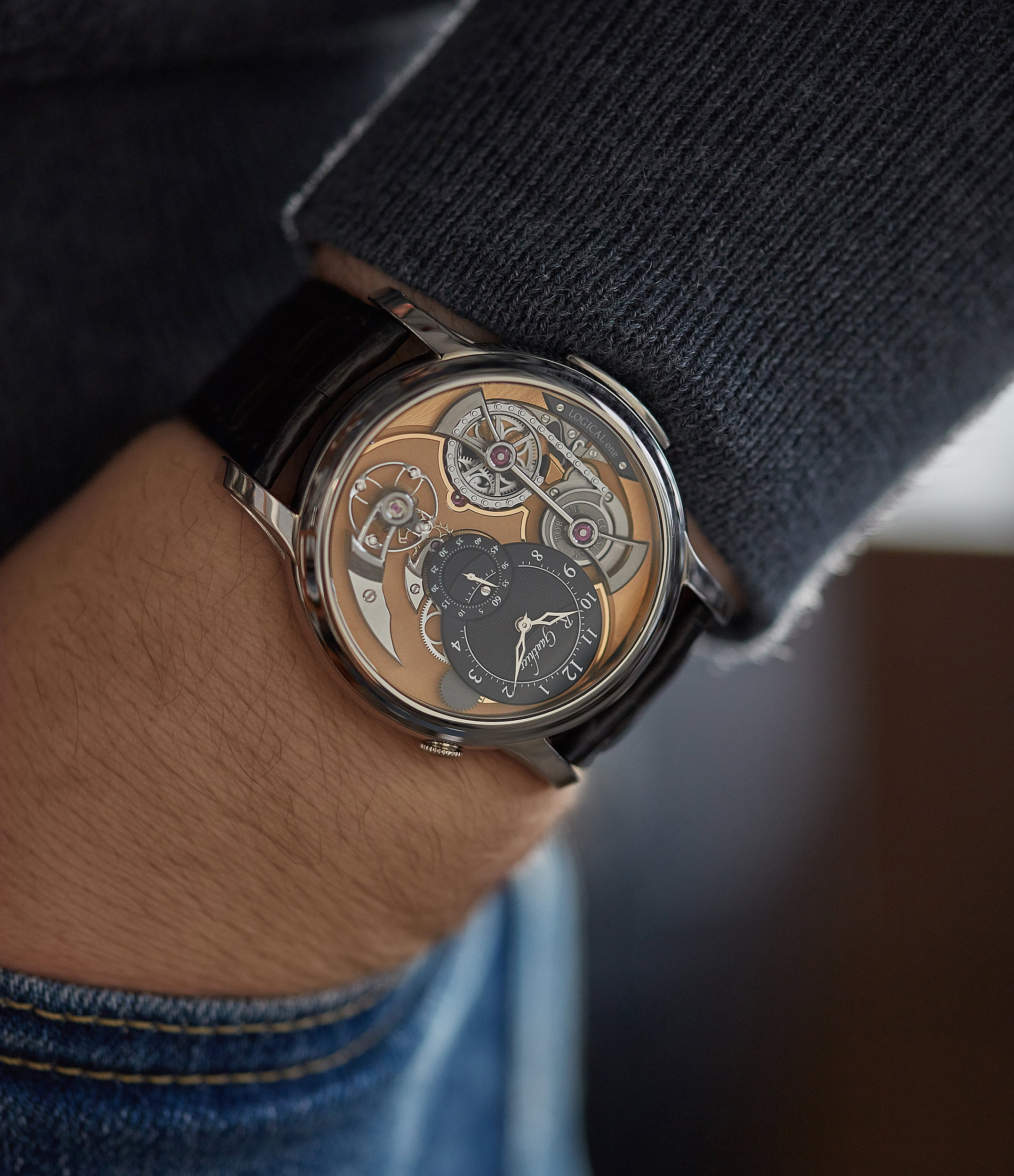 Logical One Romain Gauthier white gold skeletonised watch for sale online at A Collected Man London UK specialist of independent watchmakers