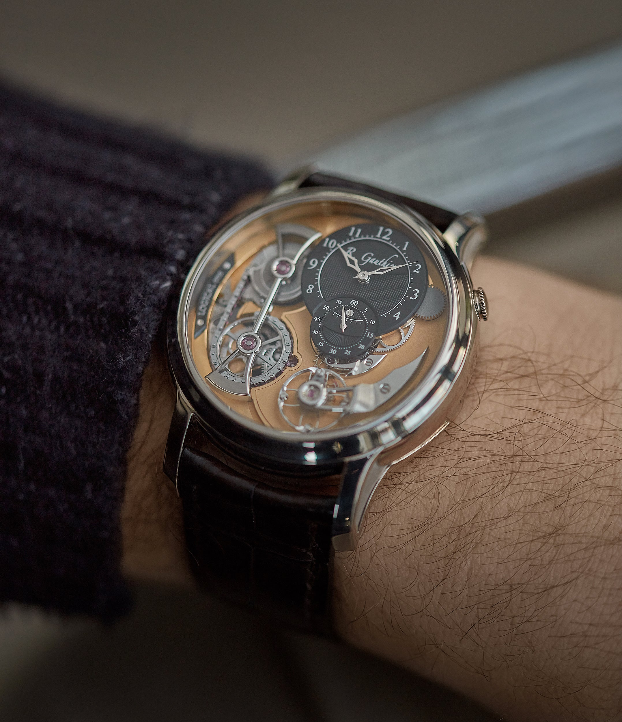hands-on Romain Gauthier Logical One white gold skeletonised watch for sale online at A Collected Man London UK specialist of independent watchmakers