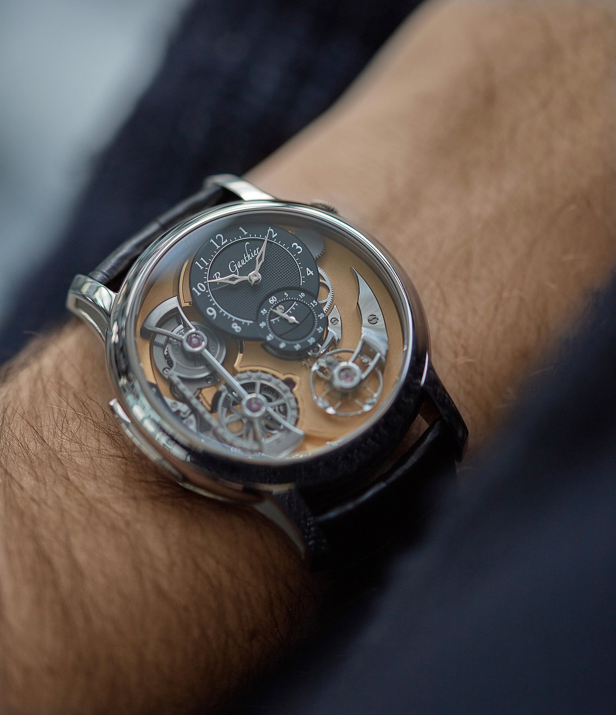 on the wrist Romain Gauthier Heritage Collection award-winning Logical One white gold skeletonised watch for sale online at A Collected Man London UK specialist of independent watchmakers