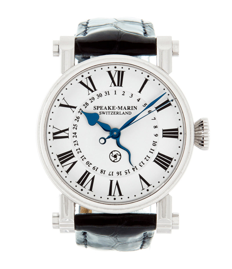 Speake-Marin Serpent Calendar PIC.10001-01 steel automatic pre-owned watch with white dial and black strap in original box