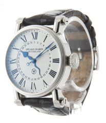 Speake-Marin Serpent Calendar PIC.10001-01 steel automatic pre-owned watch with white dial and black strap