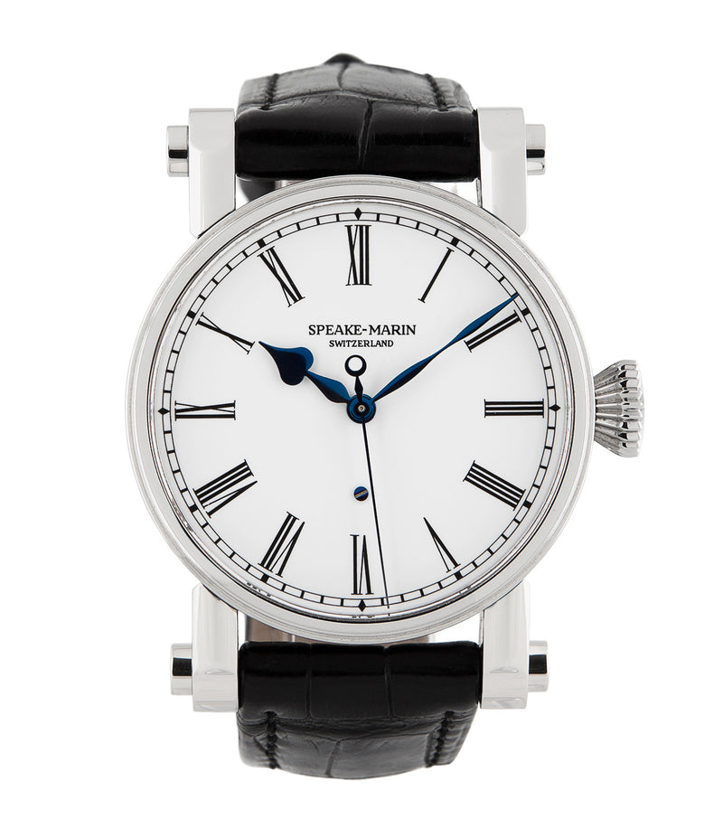 buy Speake-Marin The Piccadilly PS3E4S stainless steel automatic Cal. FW2012 (ETA base 2824) authentic pre-owned dress, rare luxury watch from 2004 with white enamel dial and black alligator strap with hours, minutes, center seconds
