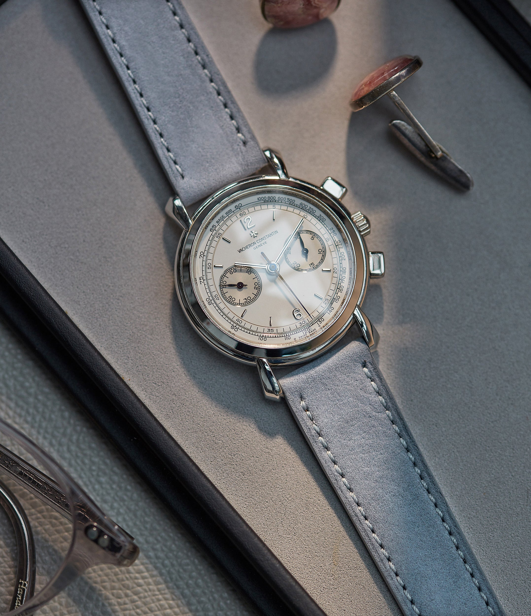selling light pastel grey Tallinn luxury nubuck leather watch strap 19mm order online at A Collected Man London