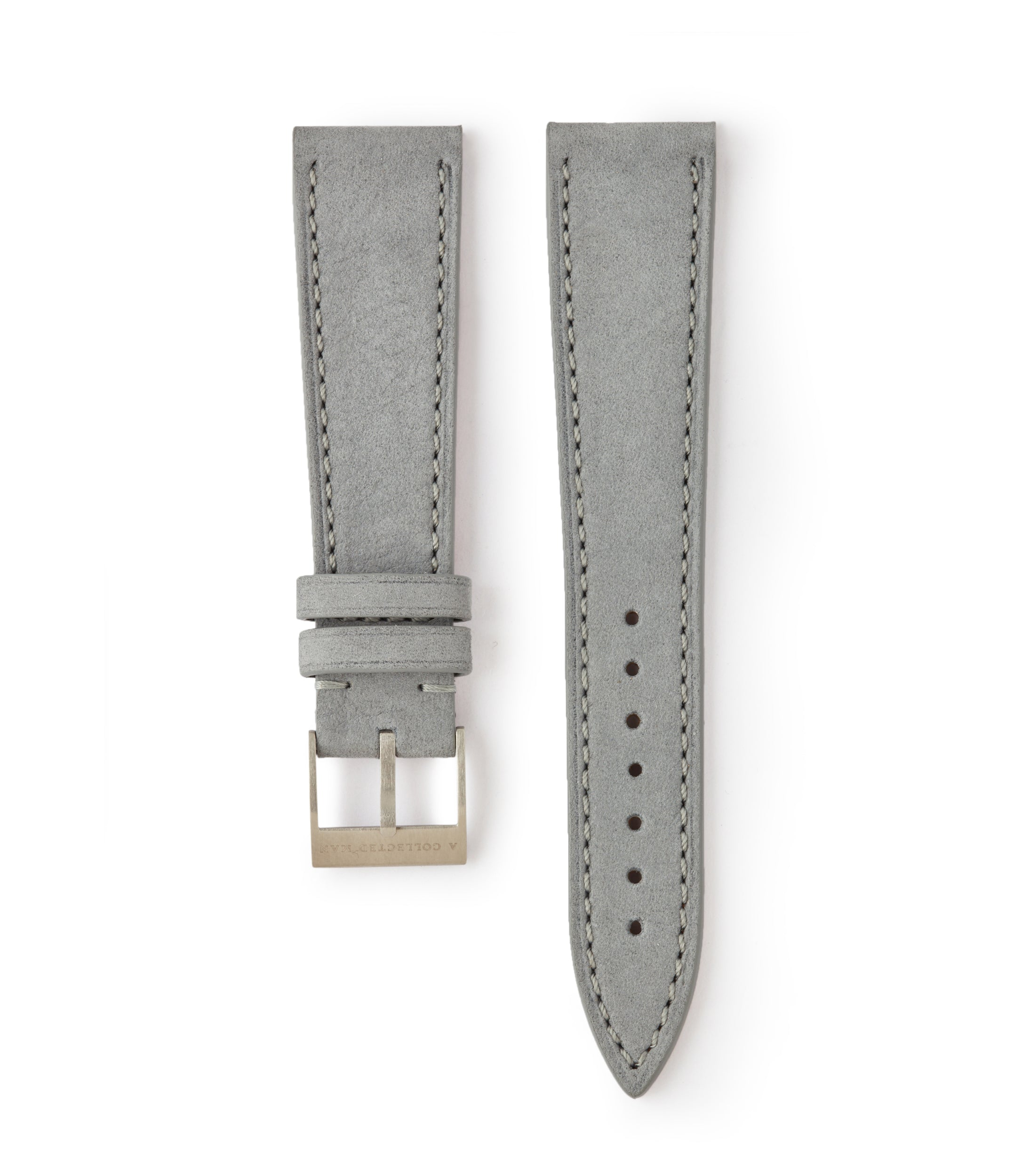 buy light pastel grey Tallinn luxury nubuck leather watch strap 18mm order online at A Collected Man London