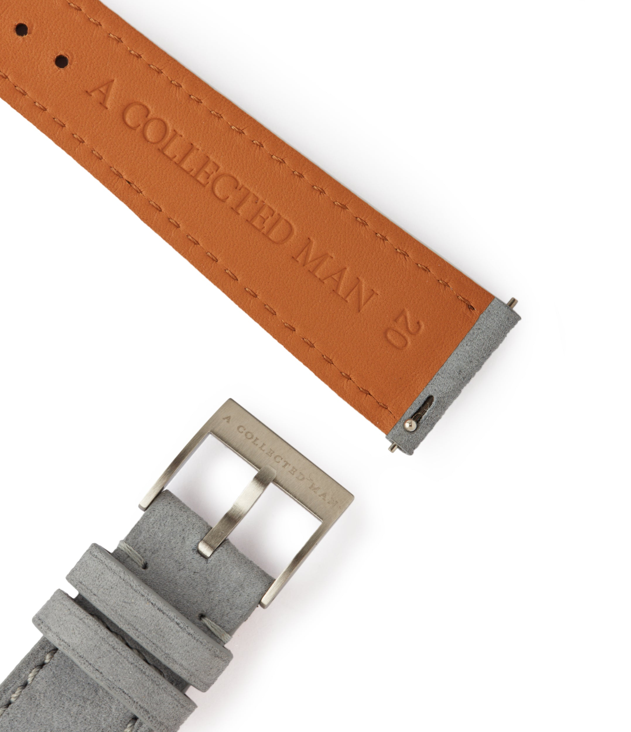 shop light pastel grey Tallinn luxury nubuck leather watch strap 20mm order online at A Collected Man London