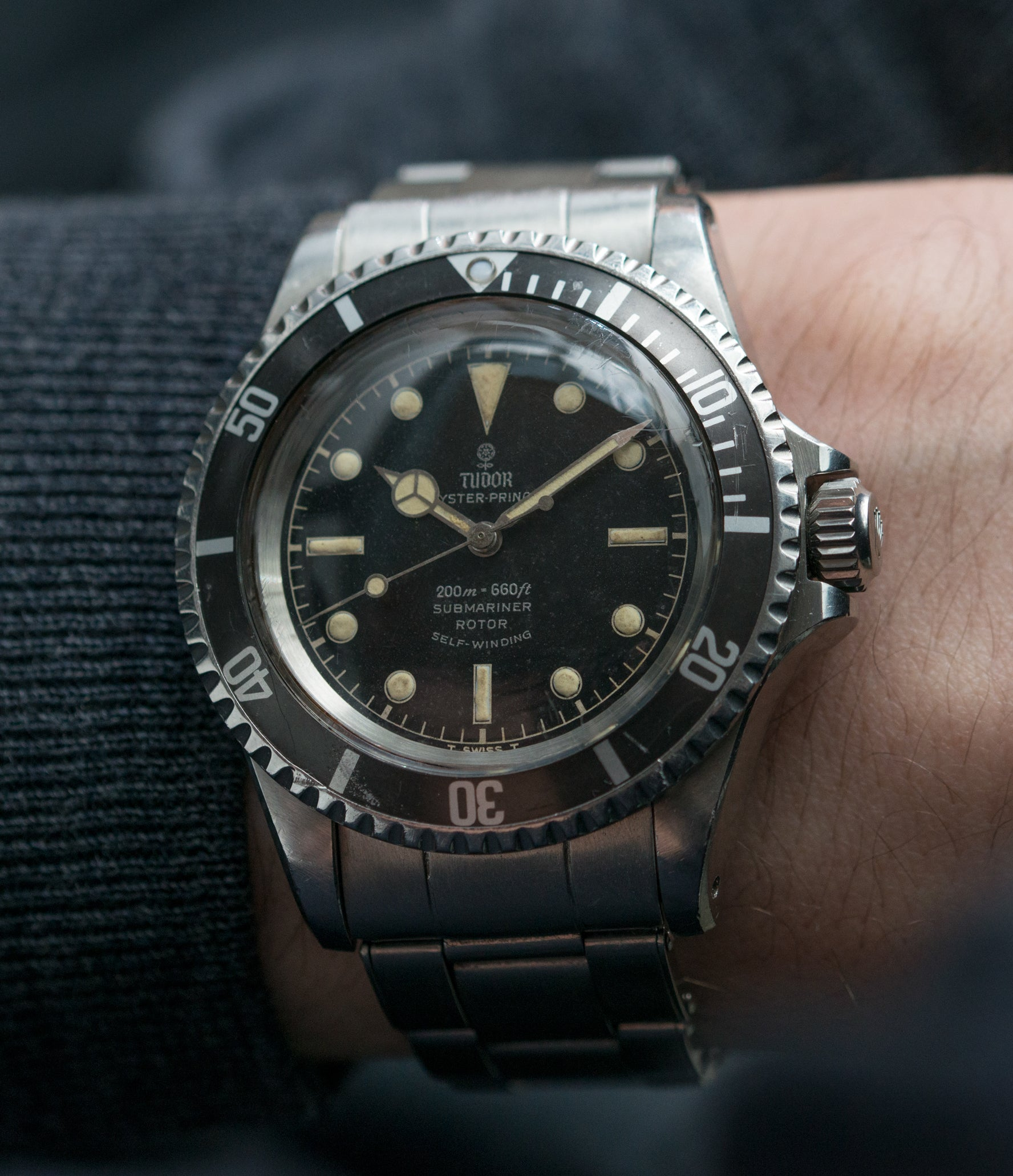 on the wrist Tudor Submariner 7928 Oyster Prince Cal. 390 automatic sport watch at A Collected Man London online vintage watch specialist UK