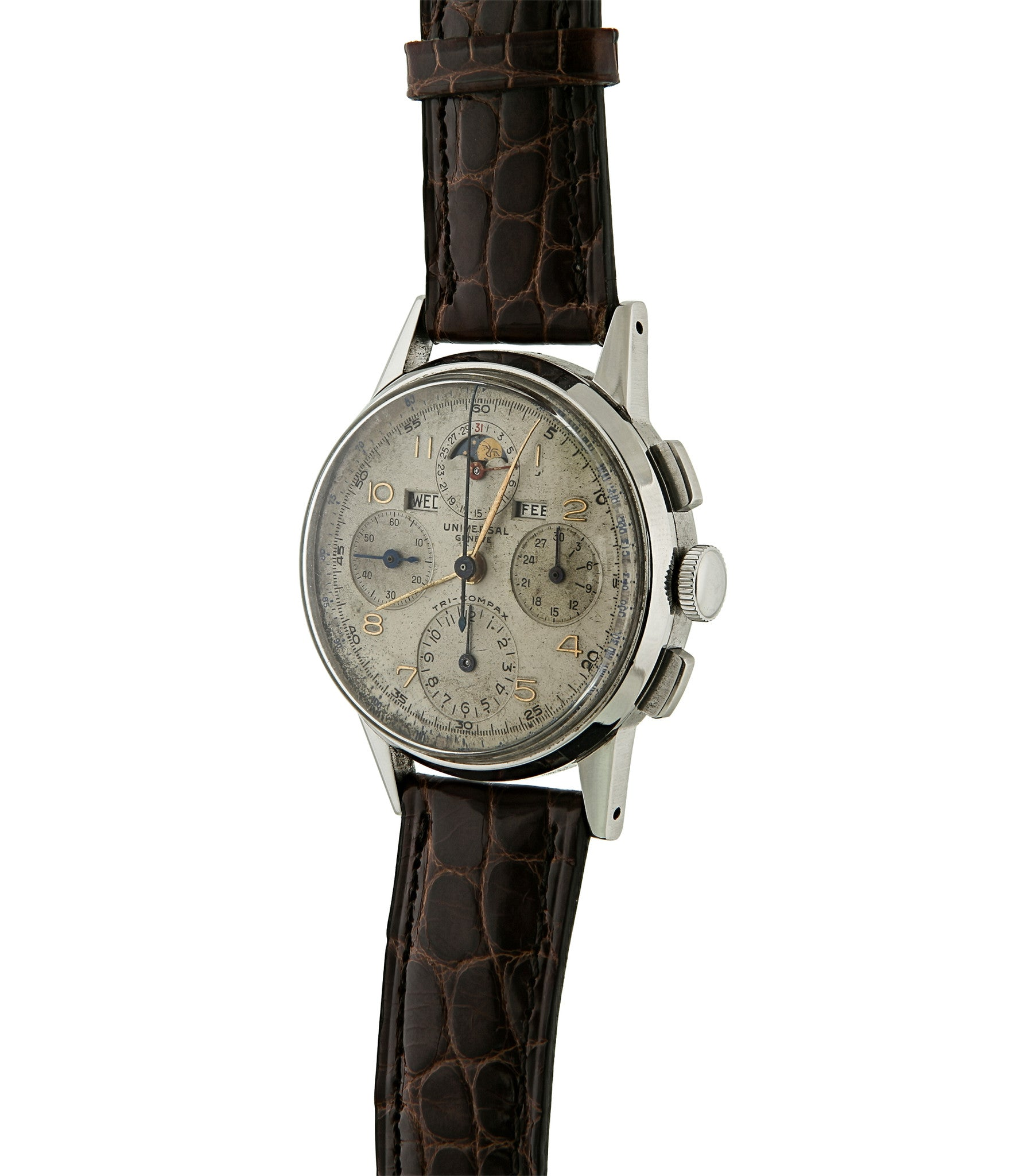 Universal Genève Tri-Compax 22536 oversized steel manual-winding Cal. 287 vintage authentic pre-owned chronograph