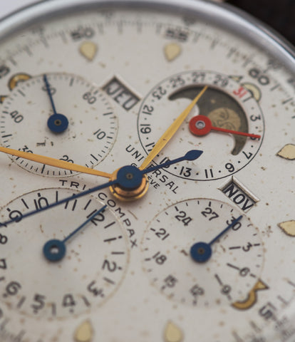 Universal Genève Tri-Compax Triple Calendar Chronograph 22261 steel and rose gold manual-winding Cal. 481 vintage authentic pre-owned dress, rare luxury watch from circa 1942 with silver dial and brown alligator strap with month, moonphase, date, weekday, chronograph, tachymeter, hours, minutes, small seconds