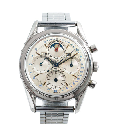 buy vintage Universal Geneve 222100/2 Tri-Compax Triple Calendar Moonphase steel chronograph watch for sale online at A Collected Man London rare vintage watch specialist