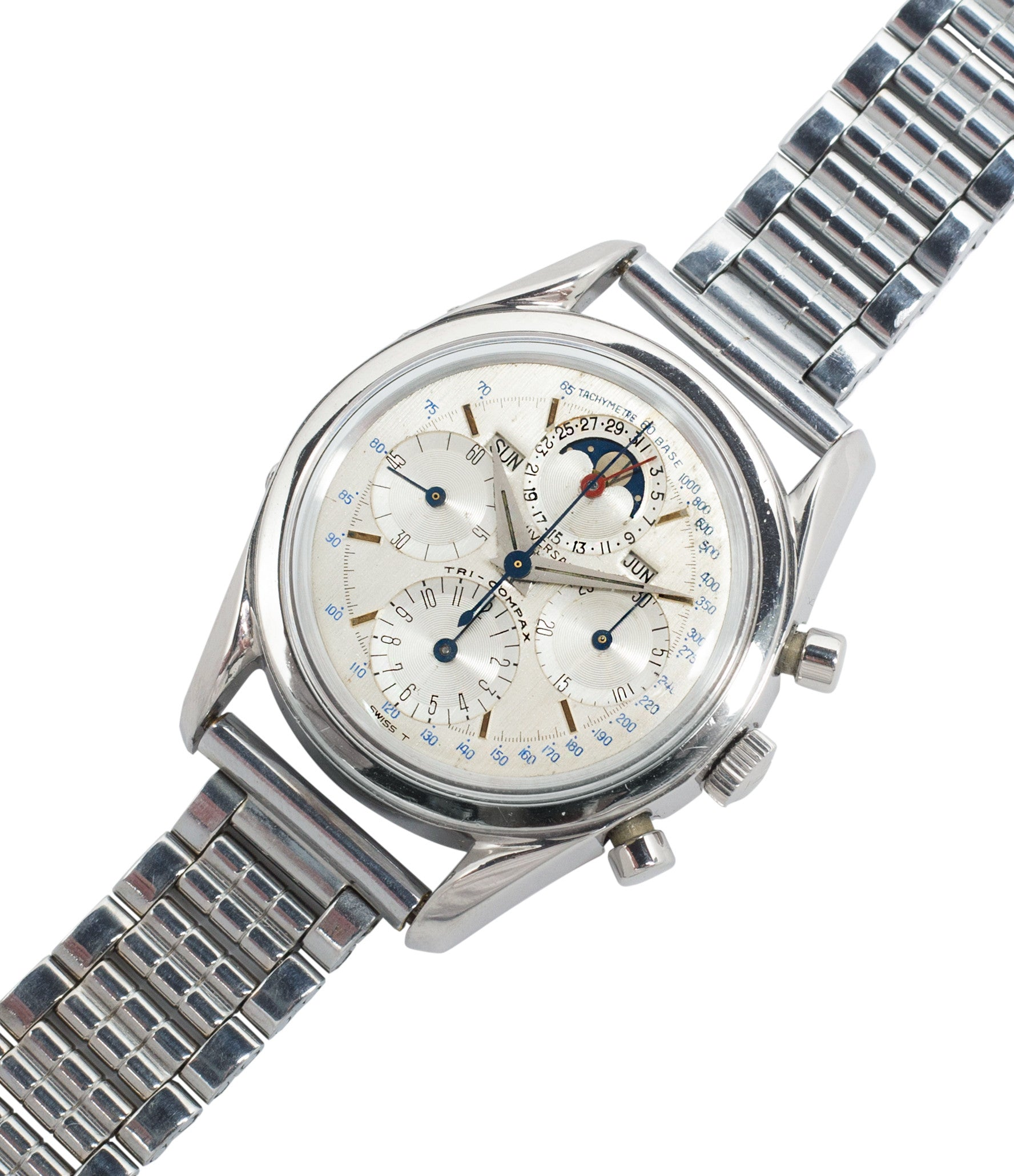 buy vintage steel chronograph Universal Geneve 222100/2 Tri-Compax Triple Calendar Moonphase steel chronograph watch for sale online at A Collected Man London rare vintage watch specialist