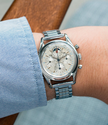 on the wrist vintage Universal Geneve 222100/2 Tri-Compax Triple Calendar Moonphase steel chronograph watch for sale online at A Collected Man London rare vintage watch specialist